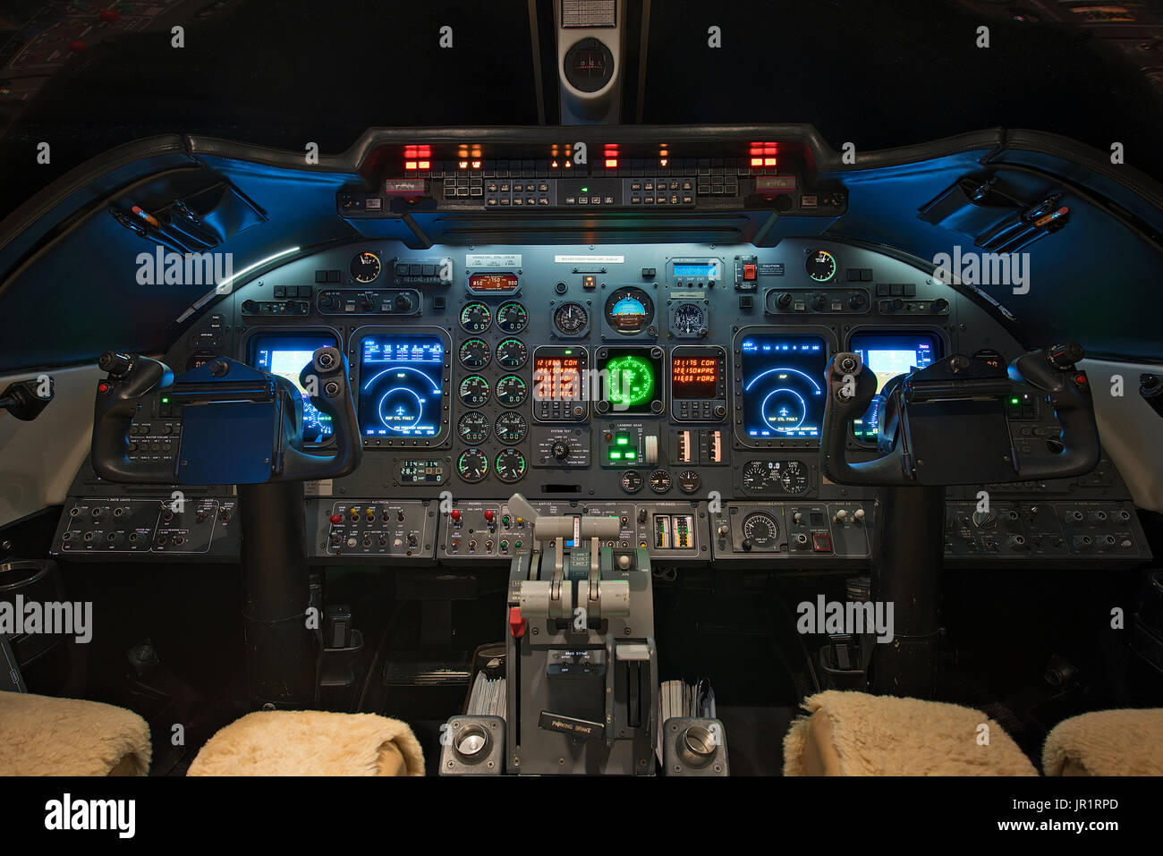 Lear 60 jet aircraft cockpit view - Stock Image