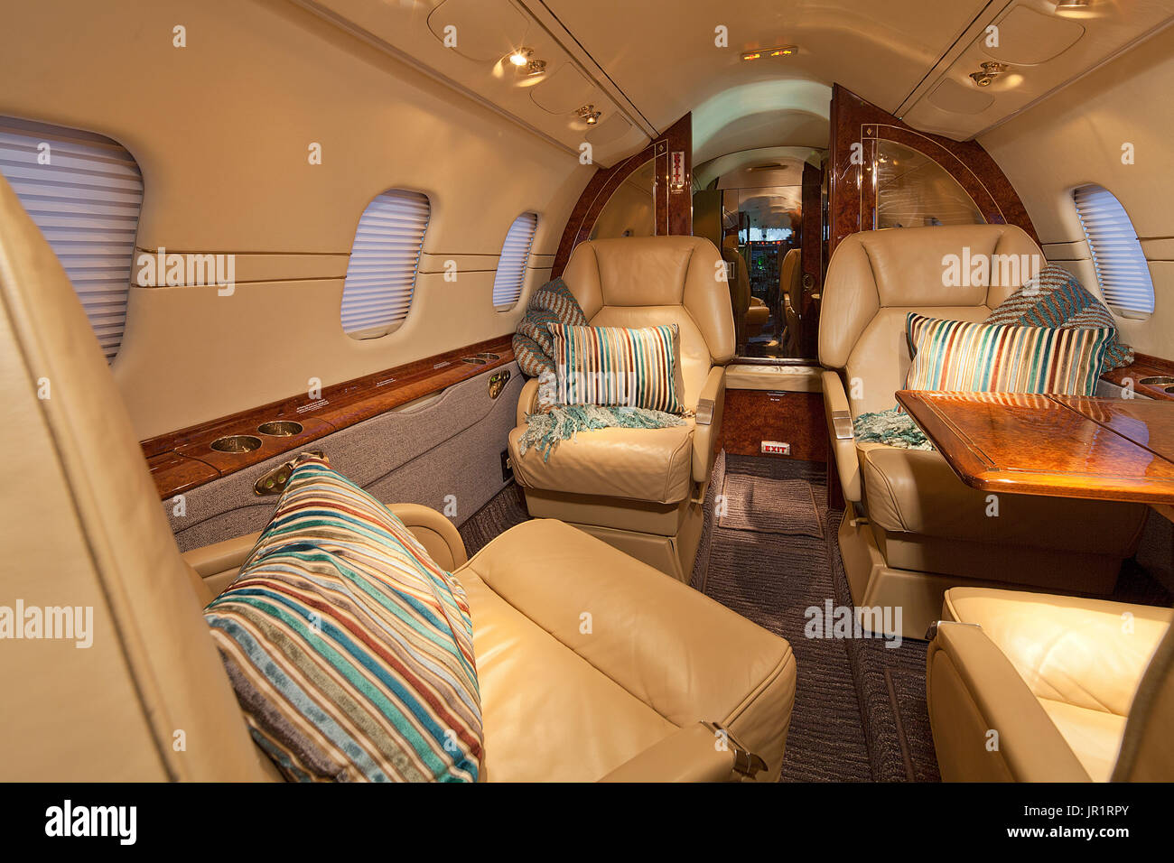 Cabin in private Lear 60 jet aircraft - Stock Image