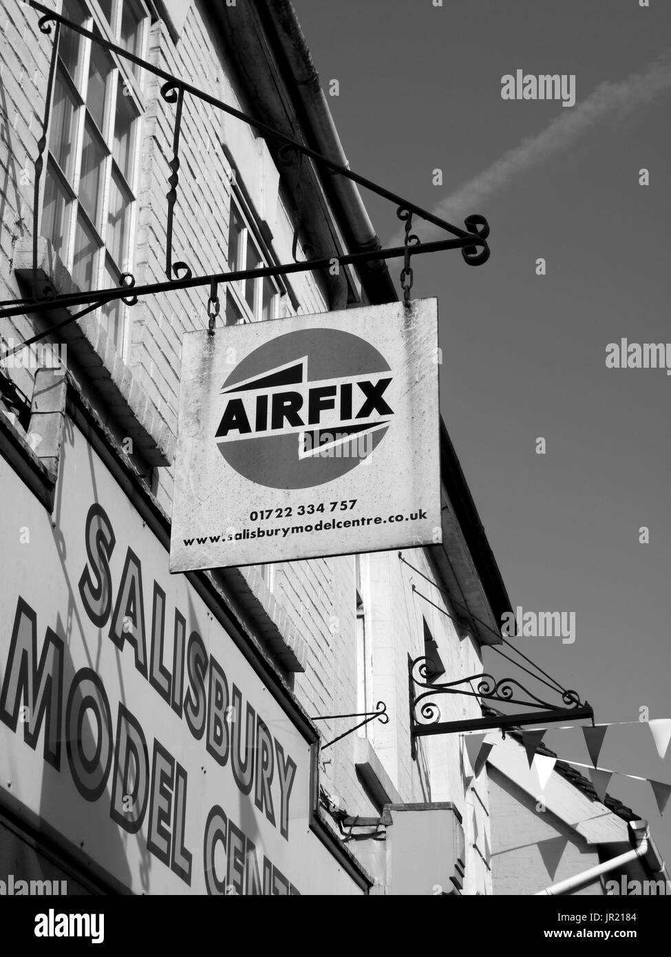 Airfix sign over retail shop, UK manufacturer of injection moulded plastic scale model kits, company founded in 1939 - Stock Image