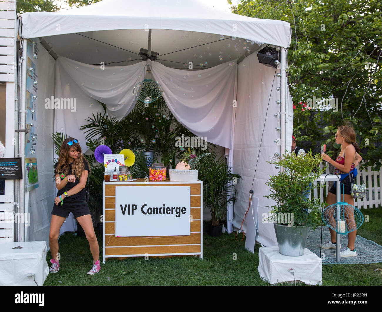 the VIP Concierge tent at Panorama Music Festival In New York City - Stock Image