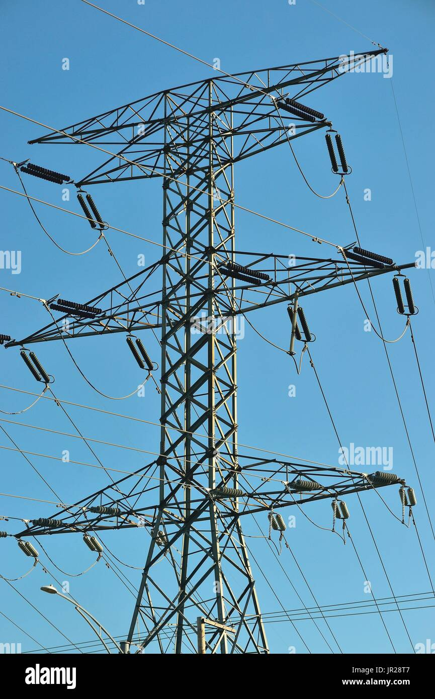 High power tower carrying electricity to the northwestern suburbs of Chicago, Illinois, USA. - Stock Image