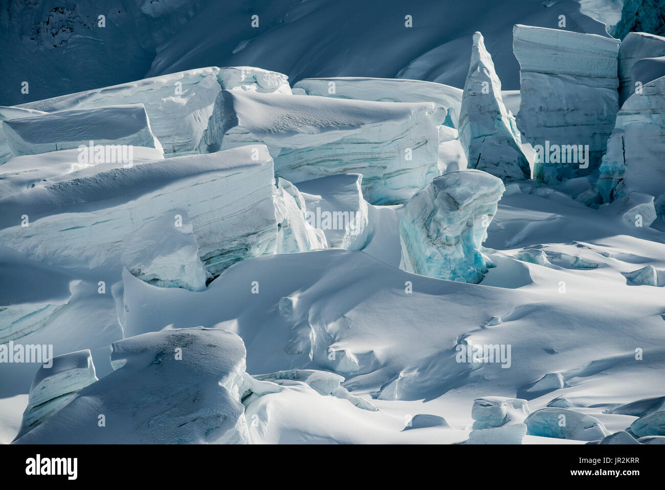 Detail View Of The Moore Icefall In The Delta Mountains Of The Alaska Range, Interior Alaska, USA - Stock Image