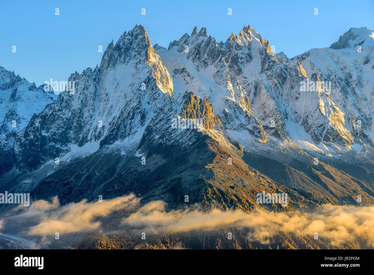 Les Aiguilles de Chamonix in autumn from Les Cheserys, in the Aiguilles Rouges mountain range, Haute Savoie, Mont Stock Photo