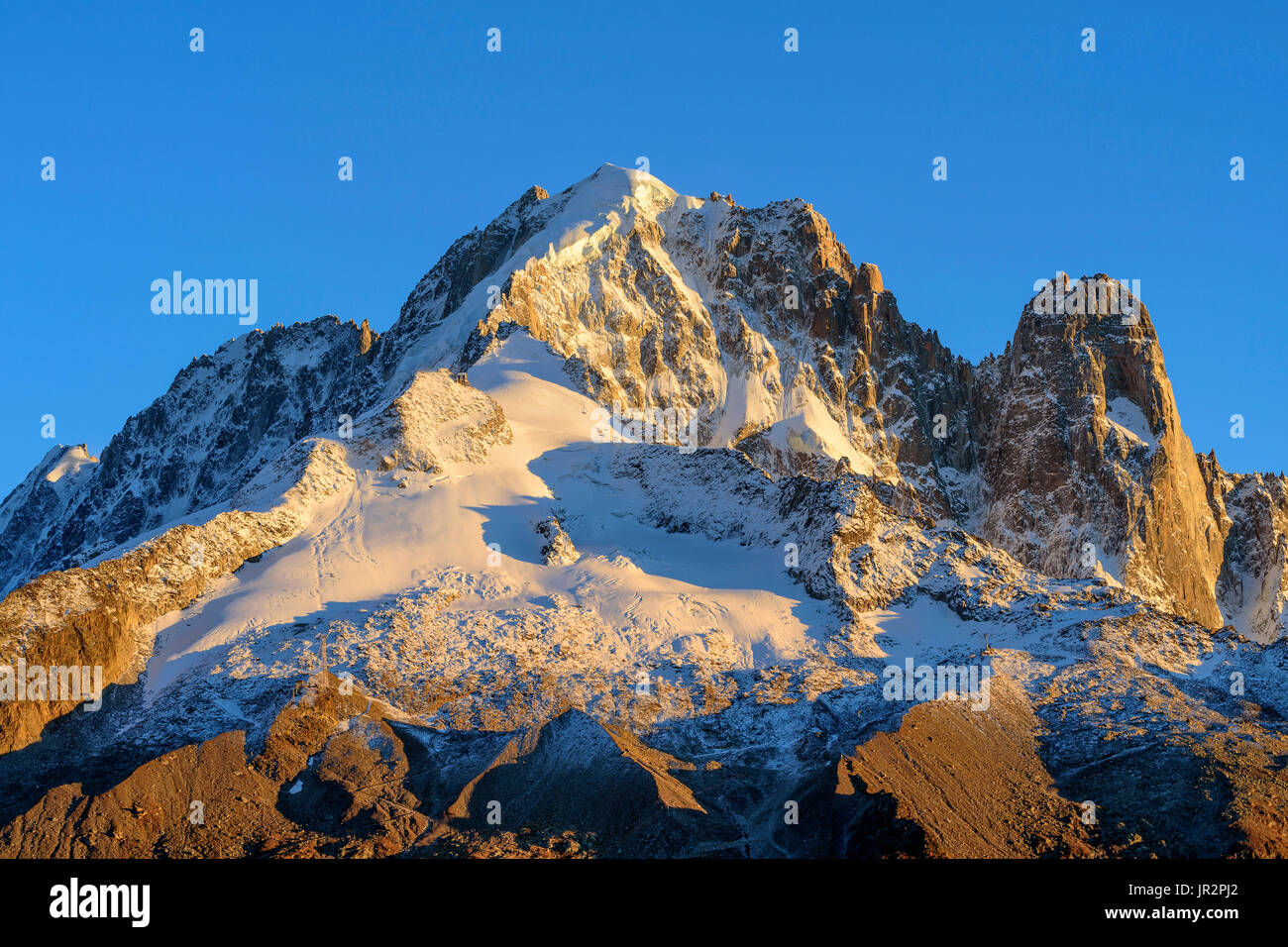 The Aiguille Verte and the Drus in autumn from Les Cheserys, Aiguilles Rouges Massif, Haute Savoie, Alps, France Stock Photo