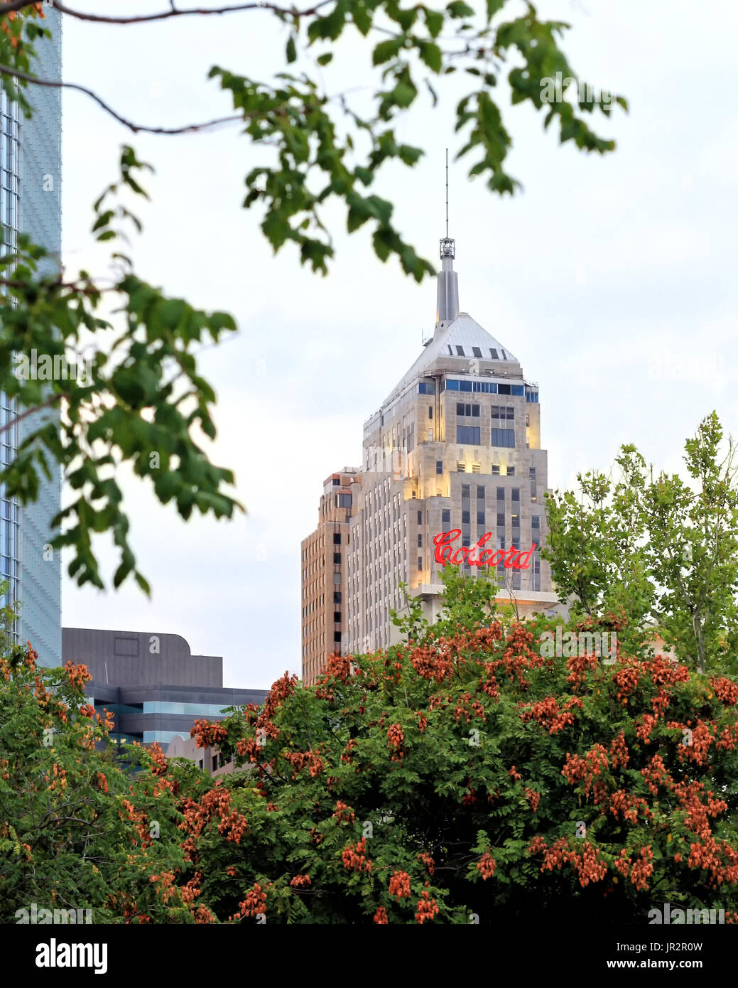 The sign for the Colcord Hotel building and the First National Center spire  in downtown Oklahoma City are viewed from a distance through trees. - Stock Image