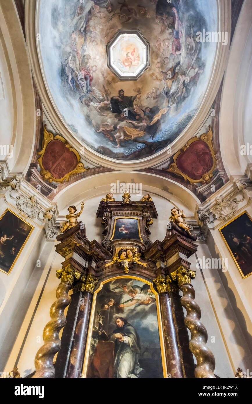 Interior Design And Artwork In St. George's Basilica, Prague Castle Complex; Prague, Czech Republic Stock Photo