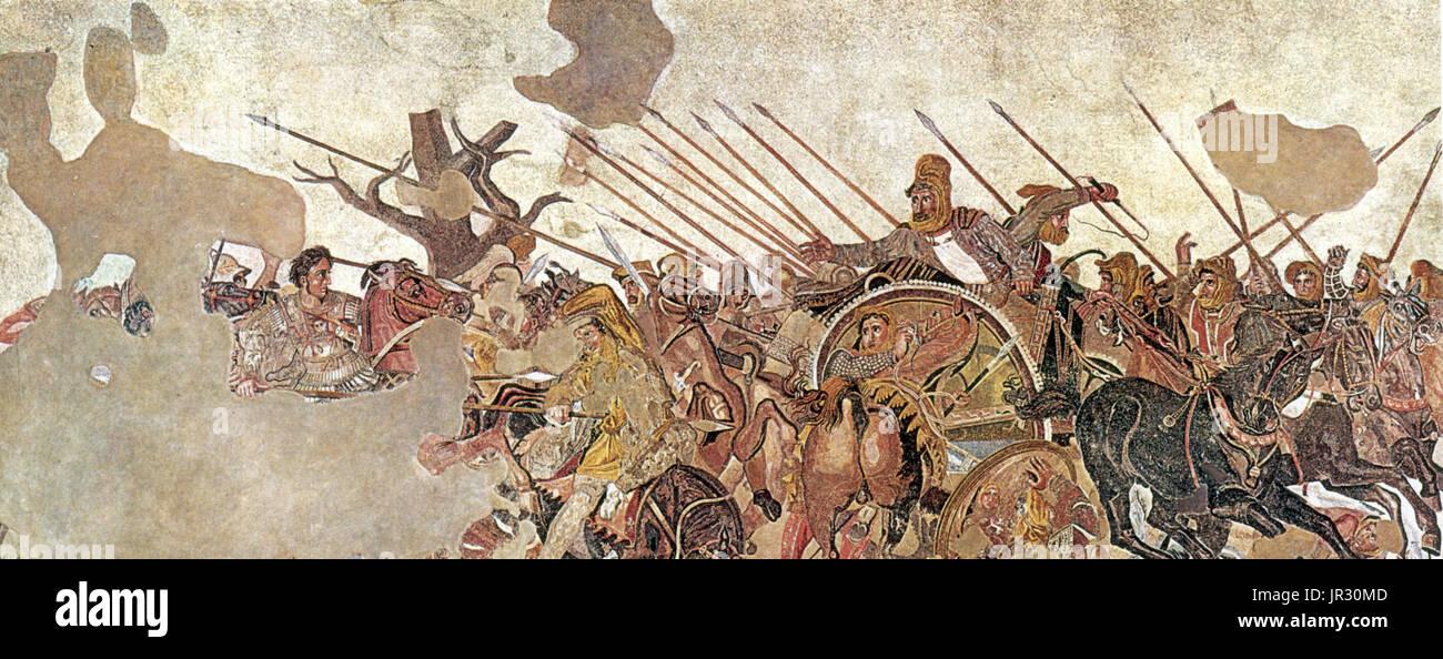 Pompeii,Alexander Mosaic,Battle of Issus,333 BC - Stock Image