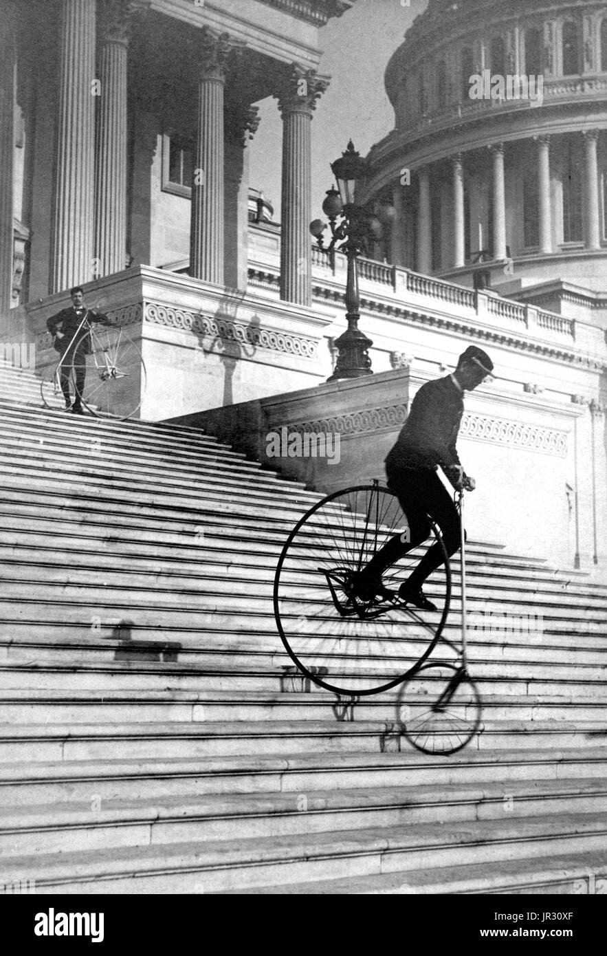 Daredevil Bicycle Rider,1884 - Stock Image