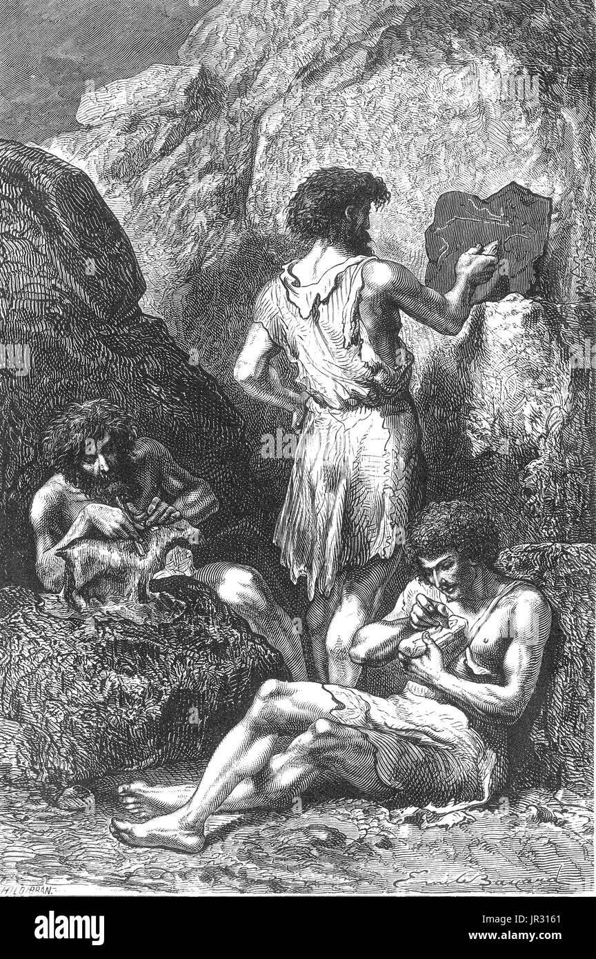 According to Figuier during the Reindeer Epoch (outdated, unused term), bone and reindeer's horn displaced flint. A caveman or troglodyte is a stock character based upon widespread concepts of the way in which early prehistoric humans may have looked and behaved. The term caveman, sometimes used colloquially to refer to Neanderthal people, originates out of assumptions about the association between early humans and caves, most clearly demonstrated in cave painting or bench models. Image taken from page 109 of 'Primitive Man' by Louis Figuier. Revised translation from the French by Edward Burne - Stock Image