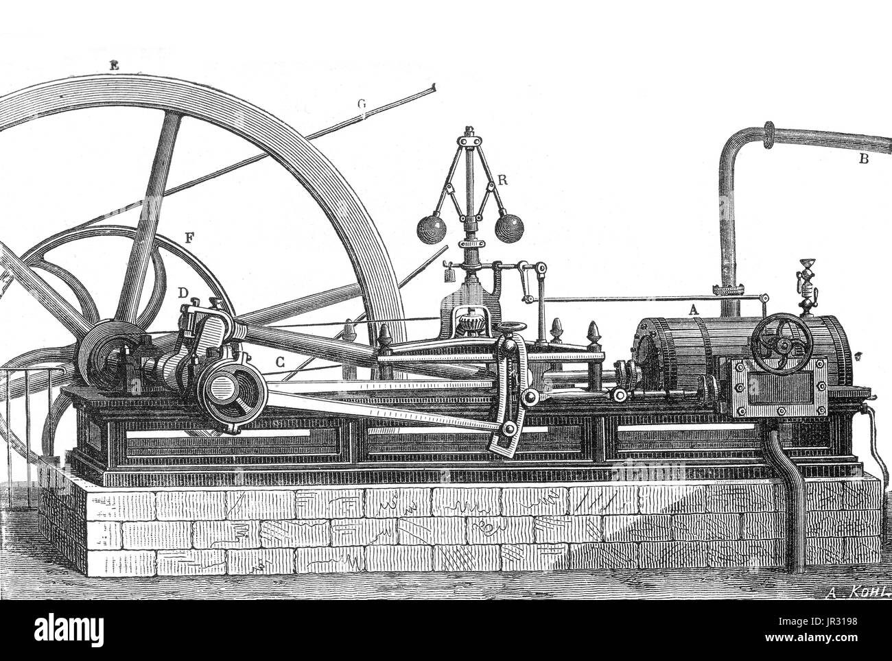 Steam engine with no condenser, horizontal cylinder. The first recorded rudimentary steam engine was the aeolipile described by Heron of Alexandria in the 1st century AD. Starting in the 12th century, a number of steam-powered devices were experimented with or proposed. In 1712 Thomas Newcomen's atmospheric engine became the first commercially successful engine using the principle of the piston and cylinder, which was the fundamental type steam engine used until the early 20th century. During the industrial revolution, steam engines started to replace water and wind power, and eventually becam - Stock Image