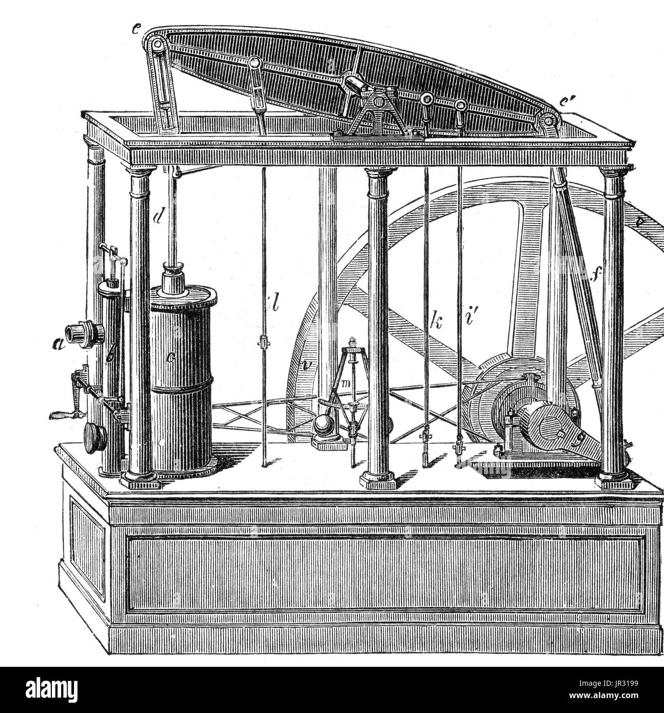The Watts steam engine was the first type of steam engine to make use of steam at a pressure just above atmospheric to drive the piston helped by a partial vacuum. Improving on the design of the 1712 Newcomen engine, the Watt steam engine, developed sporadically from 1763 to 1775, was the next great step in the development of the steam engine. Offering a dramatic increase in fuel efficiency, the new design replaced Newcomen engines in areas where coal was expensive, and then went on to be used in the place of most natural power sources such as wind and water. James Watt's design became synonym - Stock Image