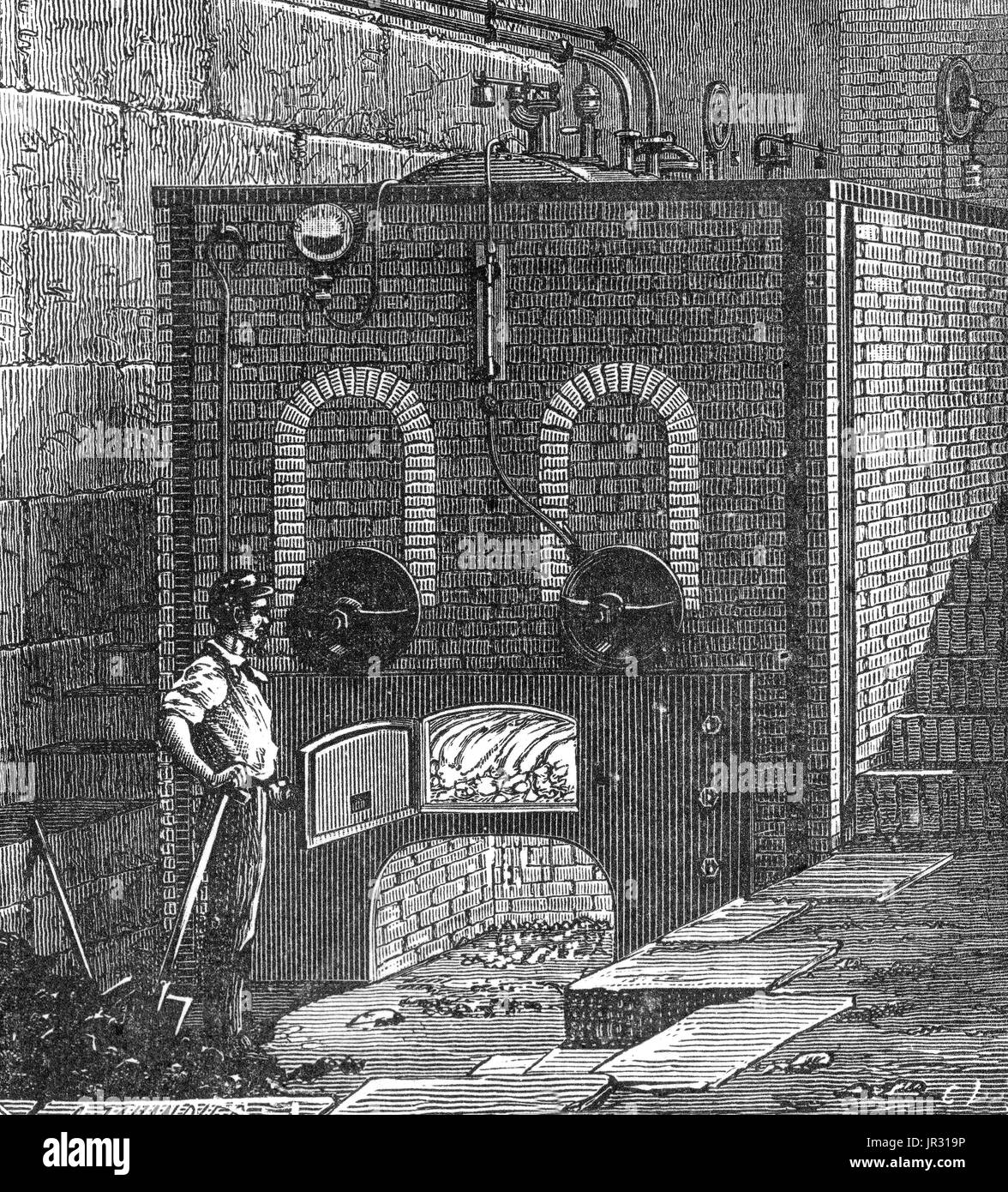 External view of the boiler of a steam engine. The first recorded rudimentary steam engine was the aeolipile described by Heron of Alexandria in the 1st century AD. Starting in the 12th century, a number of steam-powered devices were experimented with or proposed. In 1712 Thomas Newcomen's atmospheric engine became the first commercially successful engine using the principle of the piston and cylinder, which was the fundamental type steam engine used until the early 20th century. During the industrial revolution, steam engines started to replace water and wind power, and eventually became the  - Stock Image