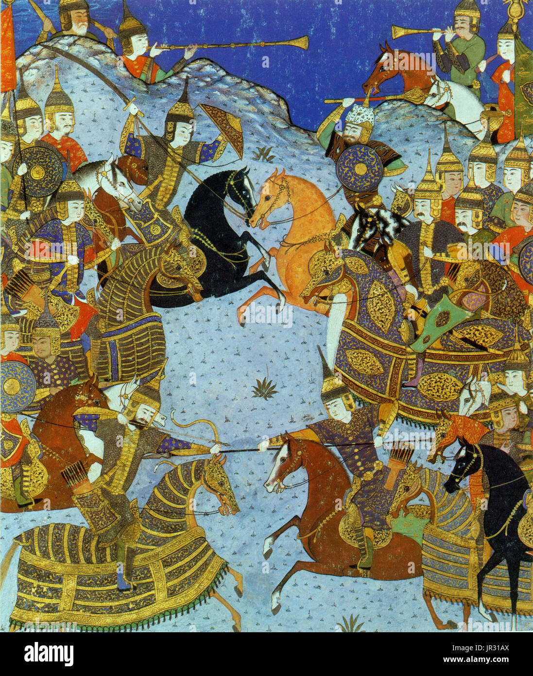 The Shahnameh, also transliterated as Shahnama (The Book of Kings), is a long epic poem written by the Persian poet Ferdowsi between 977 and 1010 AD and is the national epic of Greater Iran. Consisting of some 50,000 couplets, the Shahnameh is the world's longest epic poem written by a single poet. It tells mainly the mythical and to some extent the historical past of the Persian Empire from the creation of the world until the Islamic conquest of Persia in the 7th century. Modern Iran, Azerbaijan, Afghanistan and the greater region influenced by the Persian culture (such as Georgia, Armenia, T - Stock Image
