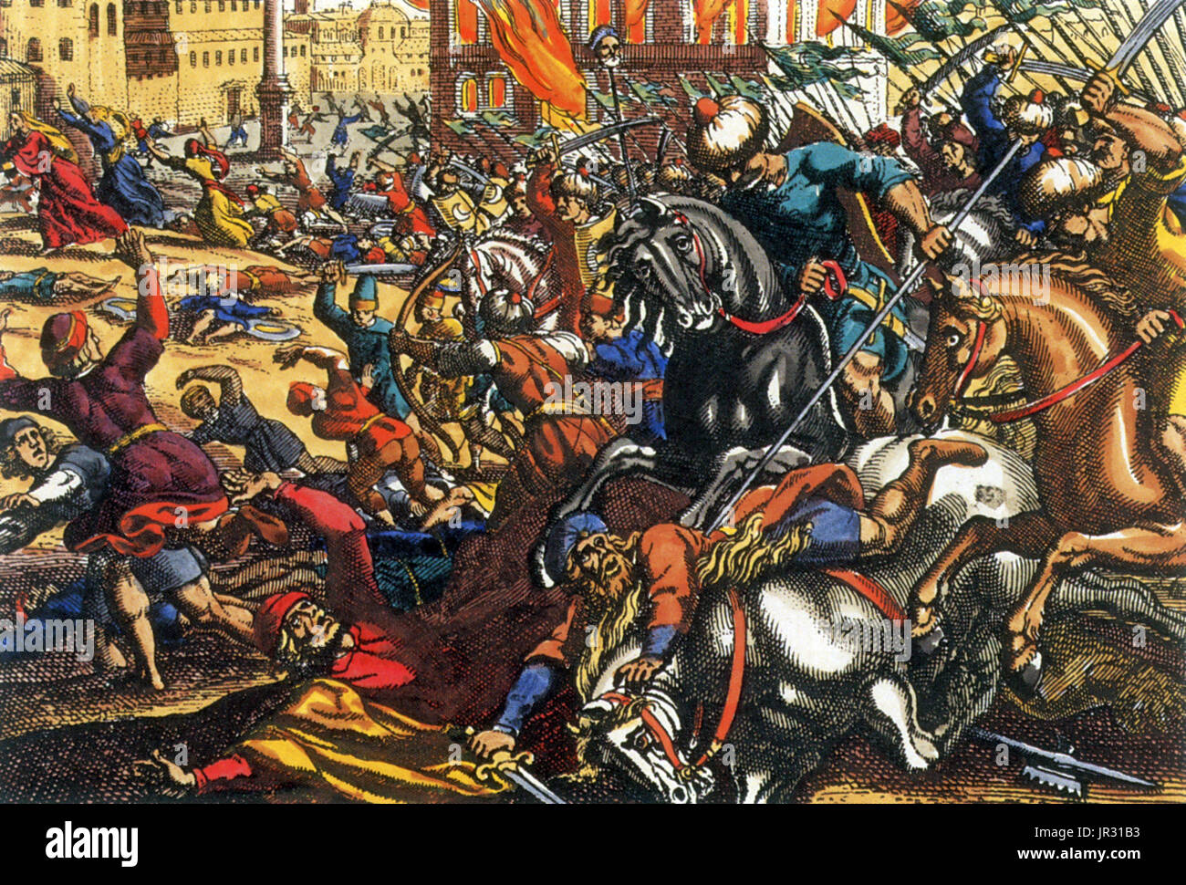 The First Crusade (1096-99) was the first of a number of crusades that attempted to capture the Holy Lands, called by Pope Urban II. It started as a widespread pilgrimage in western christendom and ended as a military expedition by Roman Catholic Europe to regain the Holy Lands taken in the Muslim conquests of the Levant (632-661). It was launched on November 27, 1095 by Pope Urban II responding to an appeal from Byzantine Emperor Alexios I Komnenos, who requested that western volunteers help to repel the invading Seljuq Turks from Anatolia. An additional goal soon became the principal objecti - Stock Image