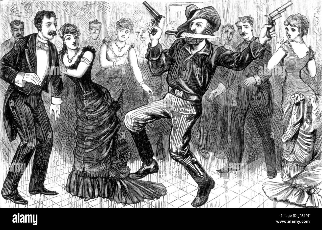A drunken cowboy shoots ip a ballroom in Leadville, Colorado. The historic American cowboy of the late 19th century Stock Photo