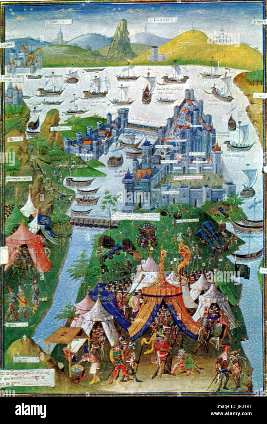 The Fall of Constantinople was the capture of the capital of the Byzantine Empire by an invading army of the Ottoman Empire on May 29, 1453. The Ottomans were commanded by Mehmed the Conqueror, the seventh sultan of the Ottoman Empire, who defeated an army commanded by Byzantine Emperor Constantine XI Palaiologos. The conquest of Constantinople followed a 53 day siege that had begun on April 6, 1453. The capture of Constantinople marked the end of the Roman Empire, an imperial state that had lasted for nearly 1,500 years. The Ottoman conquest of Constantinople also dealt a massive blow to Chri - Stock Image