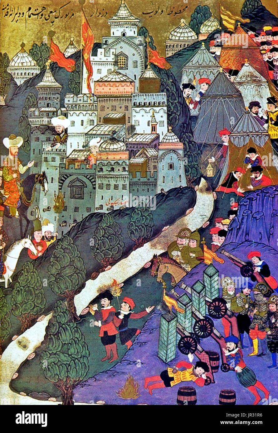 The Battle of Nicopolis took place on September 25, 1396 and resulted in the rout of an allied crusader army of Hungarian, Croatian, Bulgarian, Wallachian, French, English, Burgundian, German and assorted troops (assisted by the Venetian navy) at the hands of an Ottoman force, raising of the siege of the Danubian fortress of Nicopolis. It is often referred to as the Crusade of Nicopolis as it was one of the last large-scale Crusades of the Middle Ages. The Battle of Nicopolis is also widely regarded as the end of the Second Bulgarian Empire, since hopes for its revival had come to an end with  - Stock Image