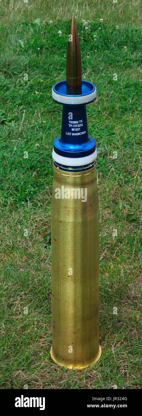 105 mm x 517 mm cased Tank Round for traing purposes, this round is accurately made and fully represents the true projectile but at reduced cost. - Stock Image
