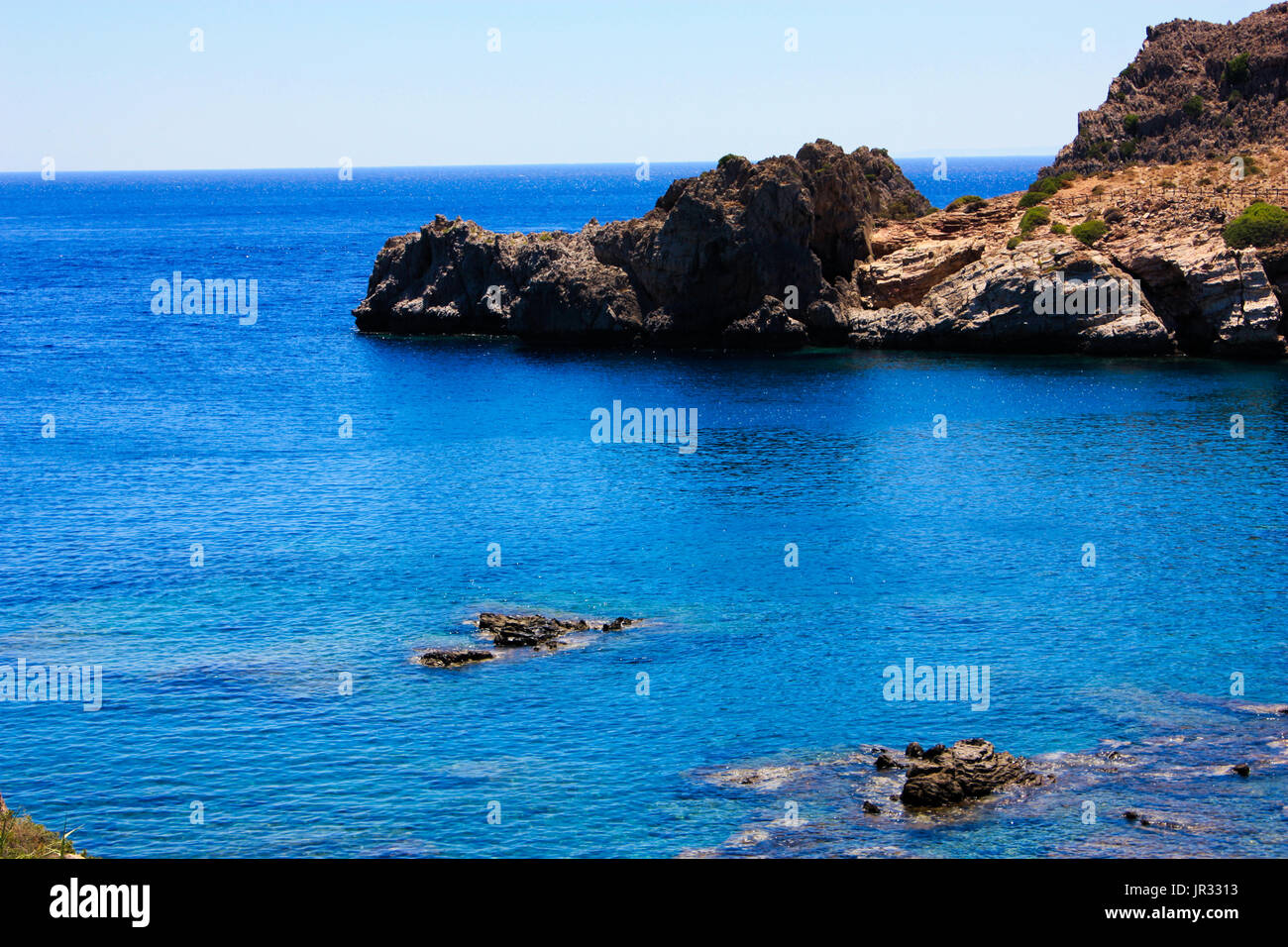 Cretan wild coastline and countryside Stock Photo