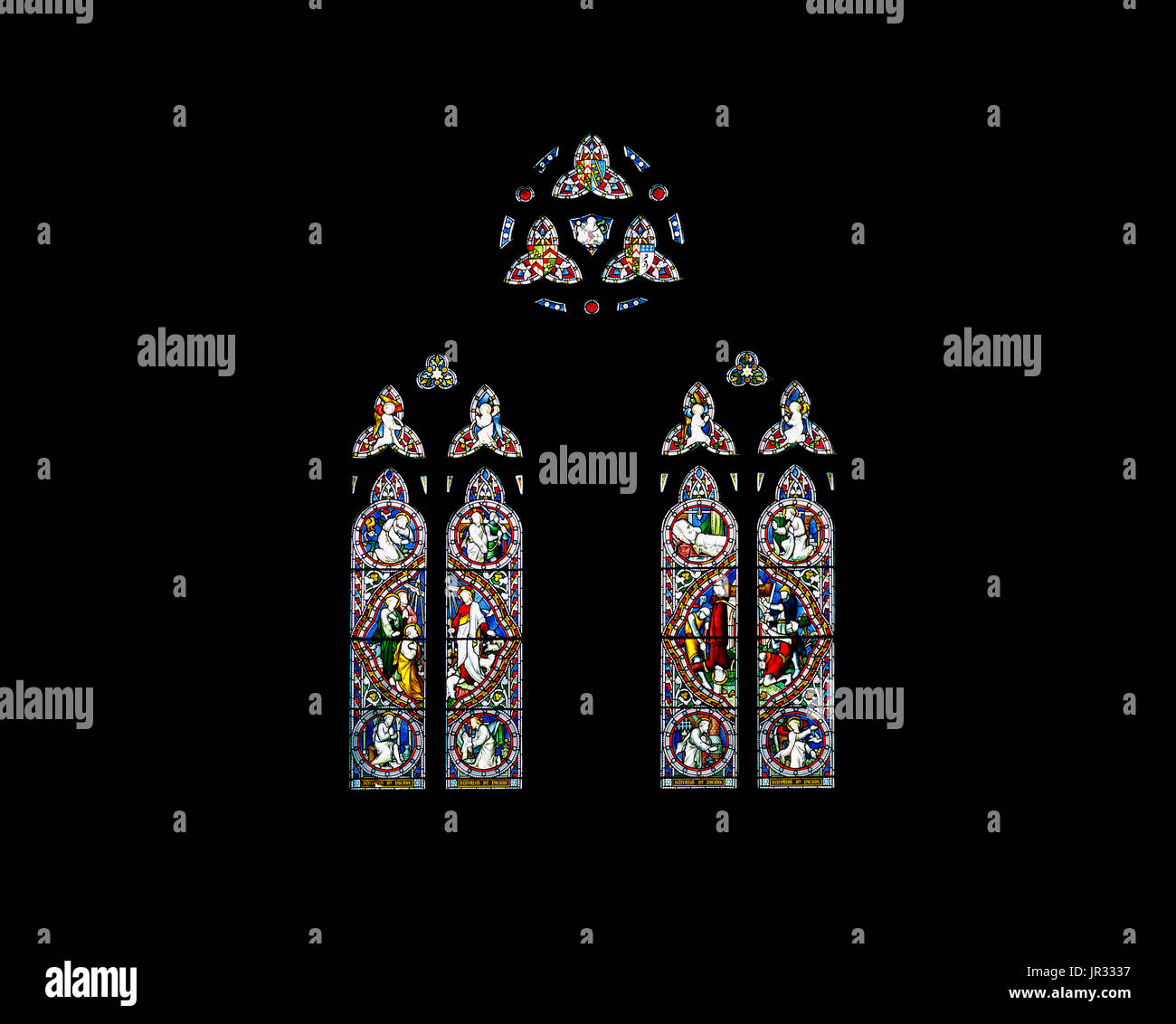 Stained glass windows in the Parish church of St Nicholas, Chawton, Hampshire, southern England, UK, burial place Stock Photo