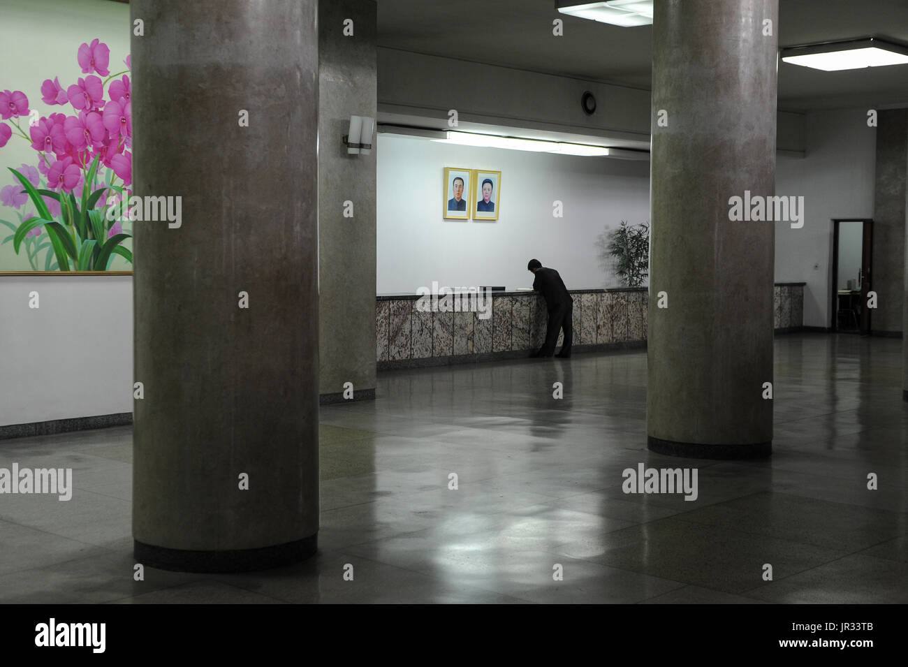 08.08.2012, Pyongyang, North Korea, Asia - A man is seen waiting at the reception inside the Grand People's Study House. - Stock Image