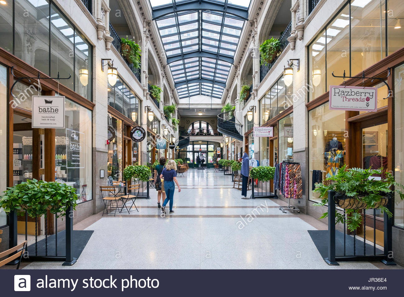 United States, North Carolina, Buncombe County, Asheville. Grove Arcade historic shopping mall in downtown Asheville. - Stock Image