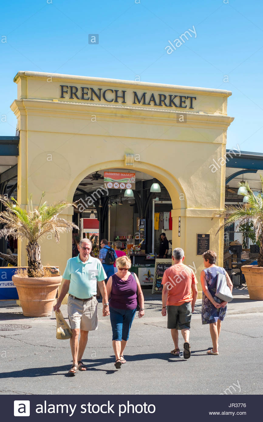 United States, Louisiana, New Orleans, French Quarter. French Market shops and farmer's market. Stock Photo