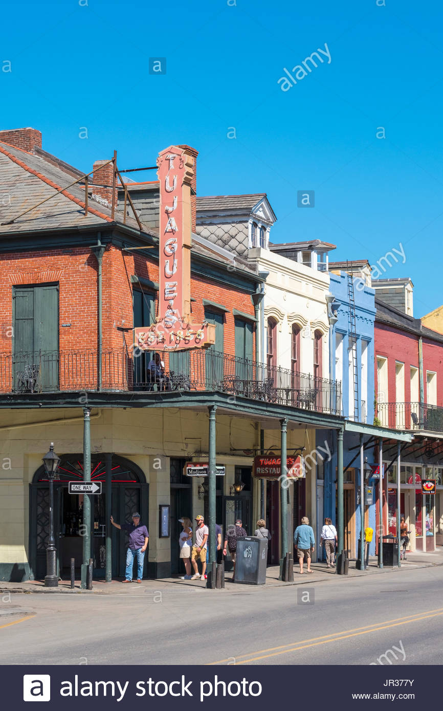 United States, Louisiana, New Orleans, French Quarter. Tujague's restaurant and buildings on Decatur St. - Stock Image