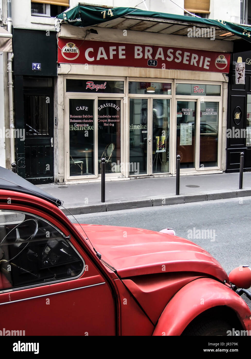 paris france - a red 2 cv citroen front of a cafe brasserie - french stock photo  151891647