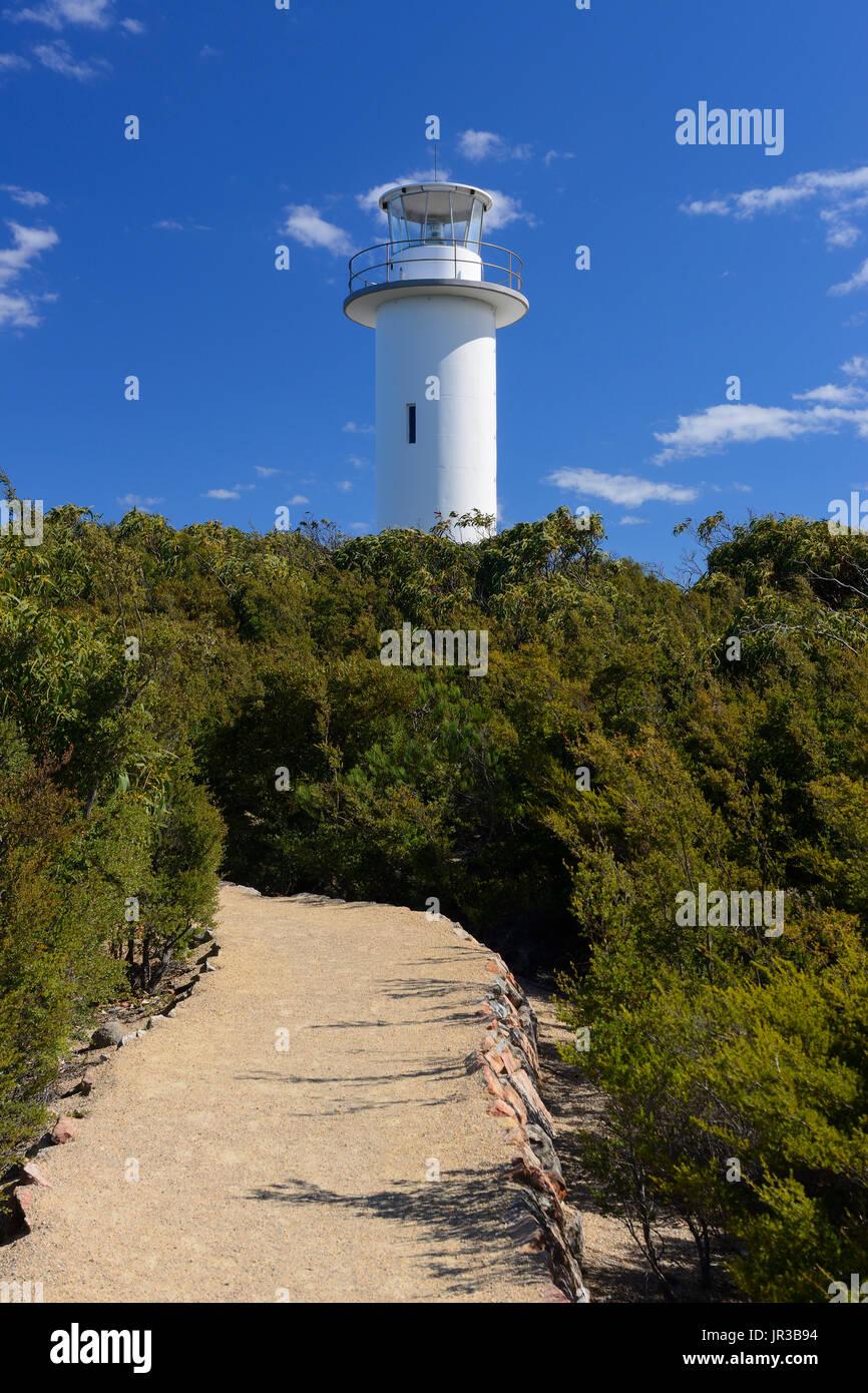 Cape Tourville Lighthouse in Freycinet National Park on East Coast of Tasmania, Australia Stock Photo