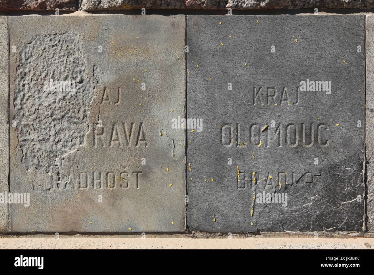 Surviving foundation stones of the monument to Soviet dictator Joseph Stalin in Letna Park in Prague, Czech Republic. The foundation stone from the summit of Mount Radhošt in the Moravian-Silesian Beskids in Ostrava Region, Czech Republic, is seen in the left, while the foundation stone from the summit of Mount Bradlo in Olomouc Region, Czech Republic, is seen in the right. - Stock Image