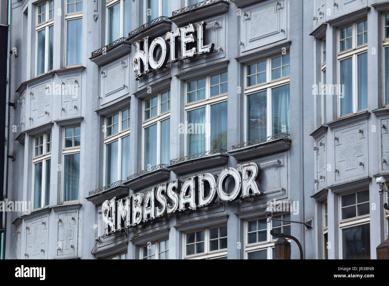 Hotel Ambassador in Wenceslaus Square in Prague, Czech Republic. The building designed by Czech architects František Weyr and Richard Klenka and built in 1912-1913 as the Passage department store (Obchodní dům Passage). - Stock Image