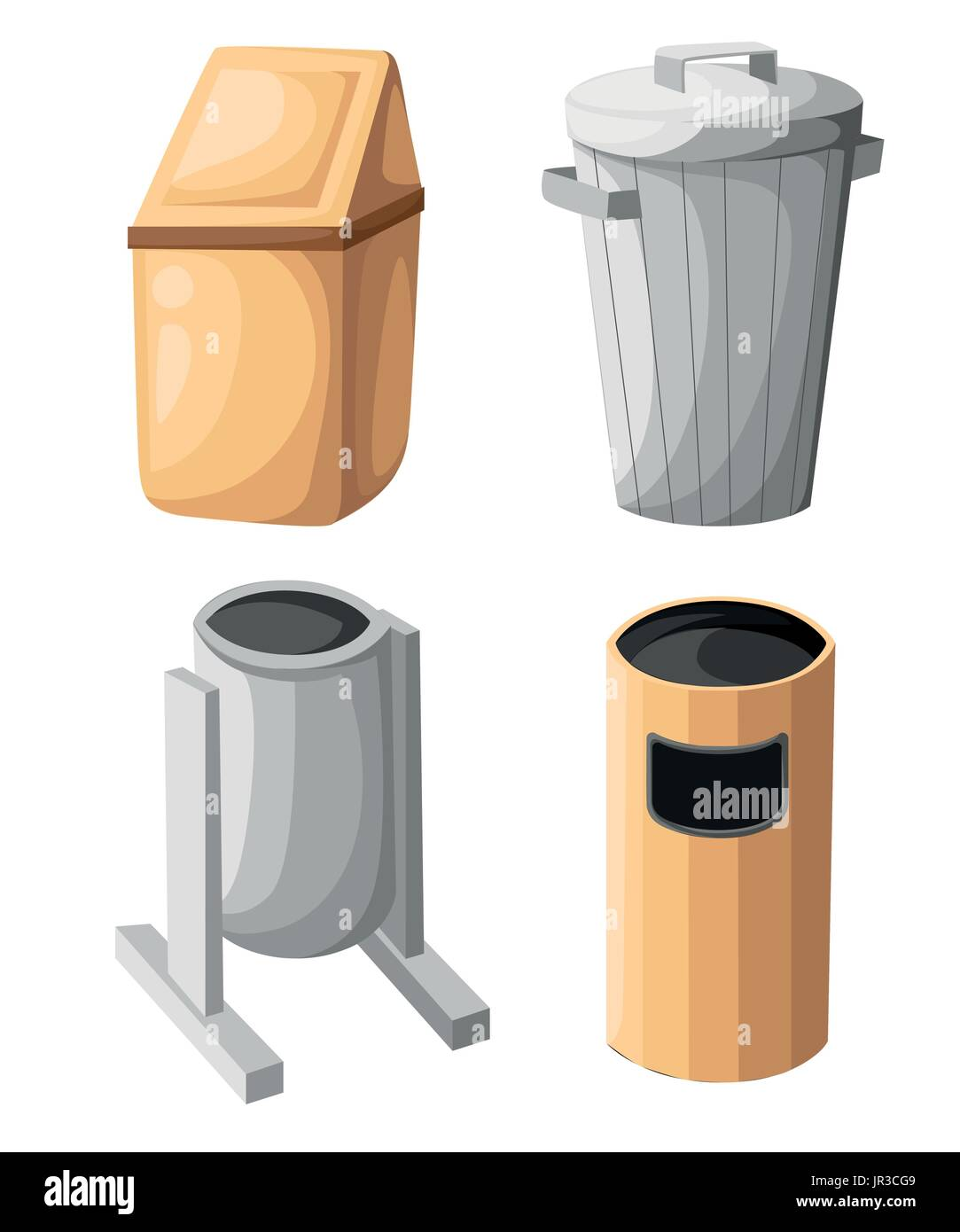 Garbage trash bin icon isolated. Vector illustration. Flat style.waste paper basket. Waste bin.Garbage bin.Garbage basket.Trash basket.Clean up.Cleani - Stock Vector