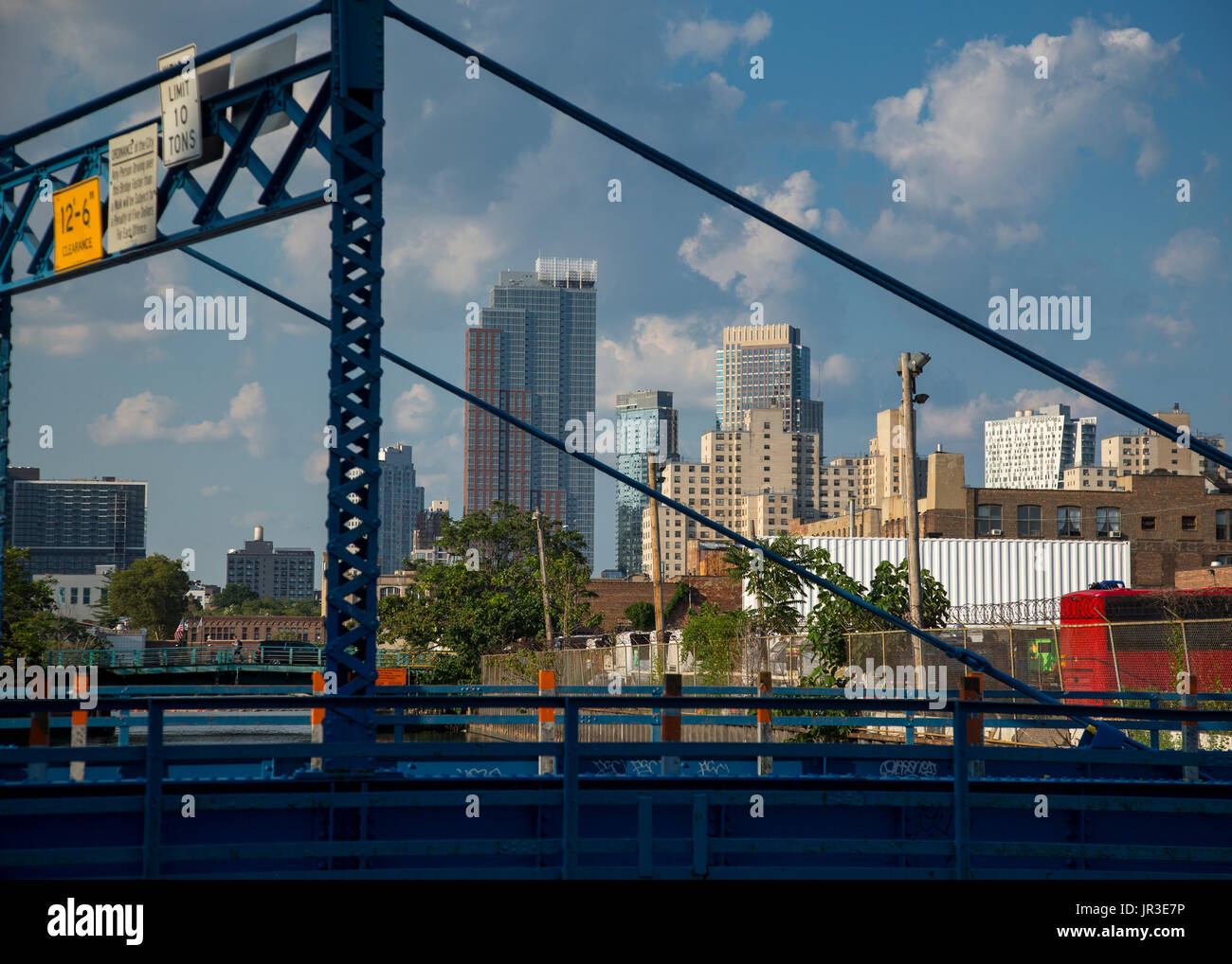 A view of downtown Brooklyn from a bridge on the Gowanus Canal - Stock Image