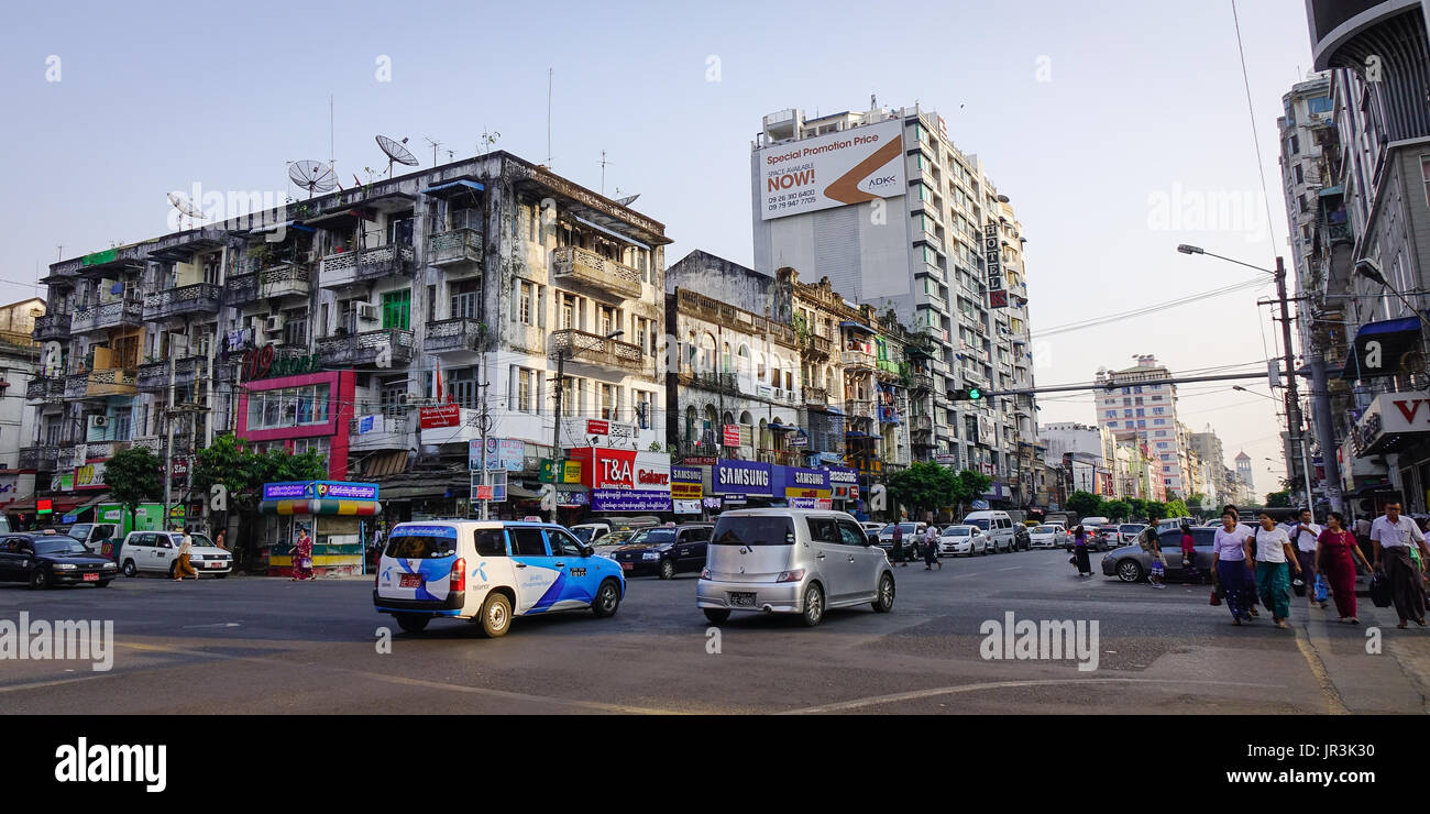 Yangon, Myanmar - Feb 13, 2017. Traffic on street at old town in Yangon, Myanmar. Yangon boasts the largest number Stock Photo