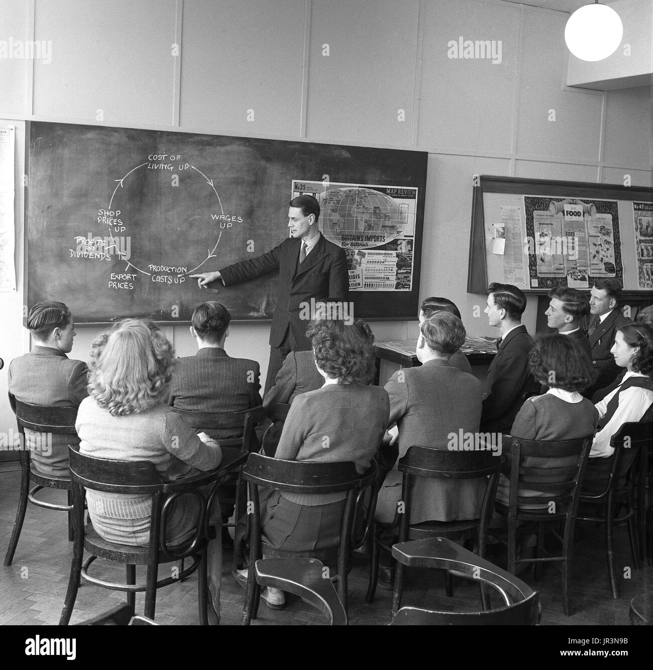 1948, historical, post-ww2 Britain, eonomics lesson, a male teacher using a diagram on a blackboard to explain to a group of male and female students how the cost of living is affected by Britain needing to import raw materials. - Stock Image
