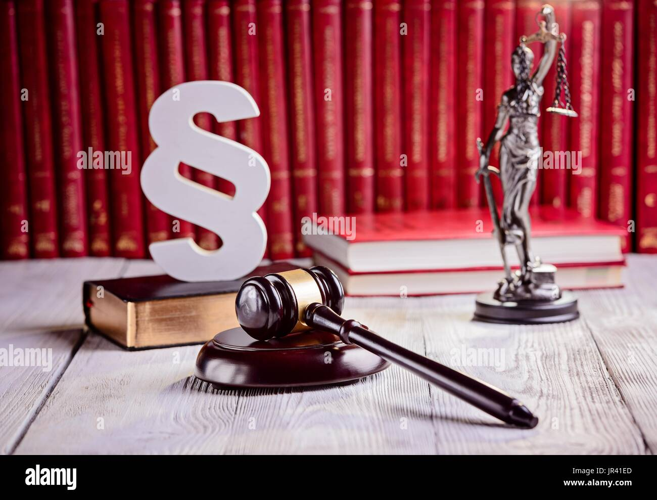 Symbols Of Law In Court Library Judge Gavel Wooden Paragraph Stock