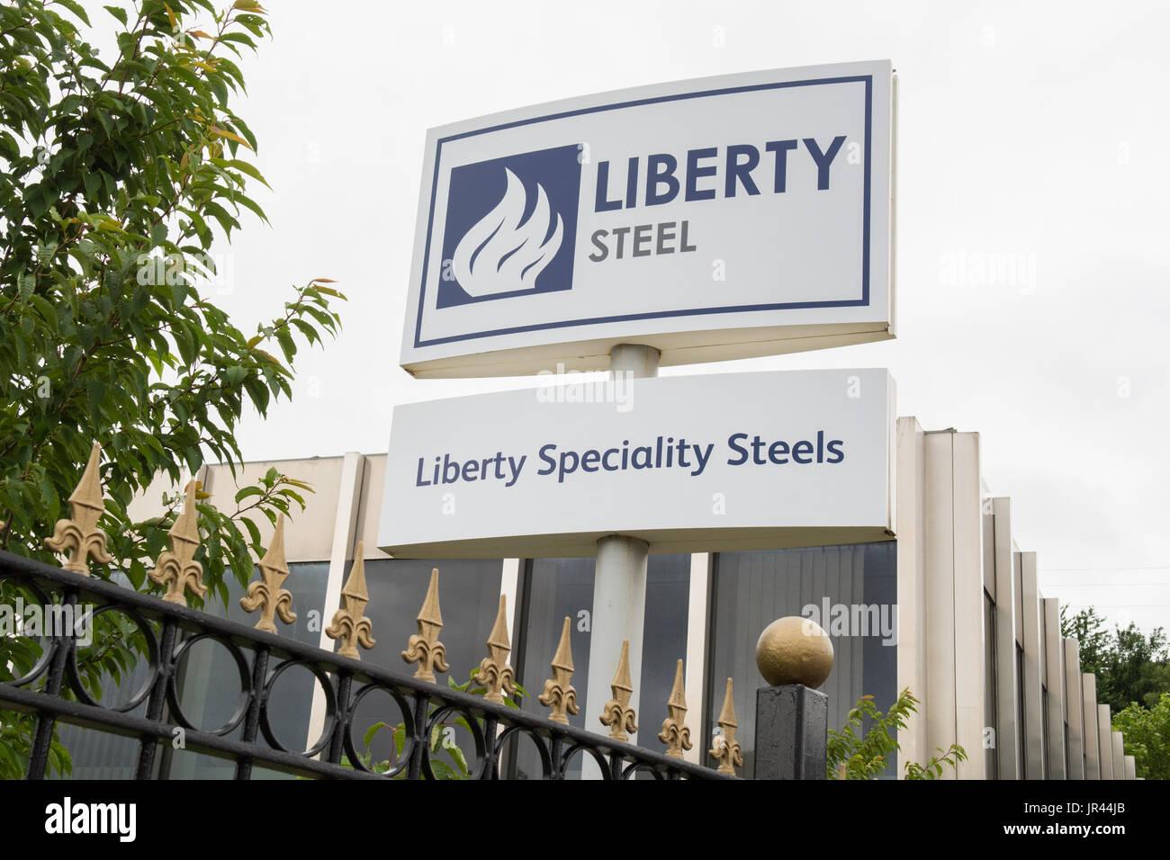 Liberty Steel - Liberty Speciality Steels sign, Stocksbridge, Sheffield, UK - Stock Image