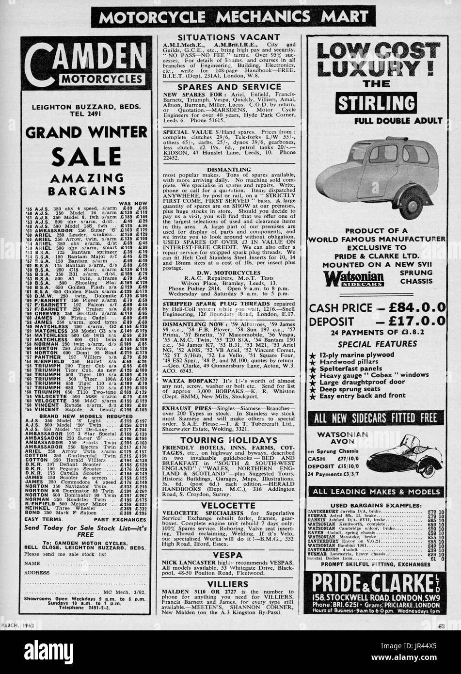 Motor Cycle Magazine Classified Adverts March 1962 - Stock Image