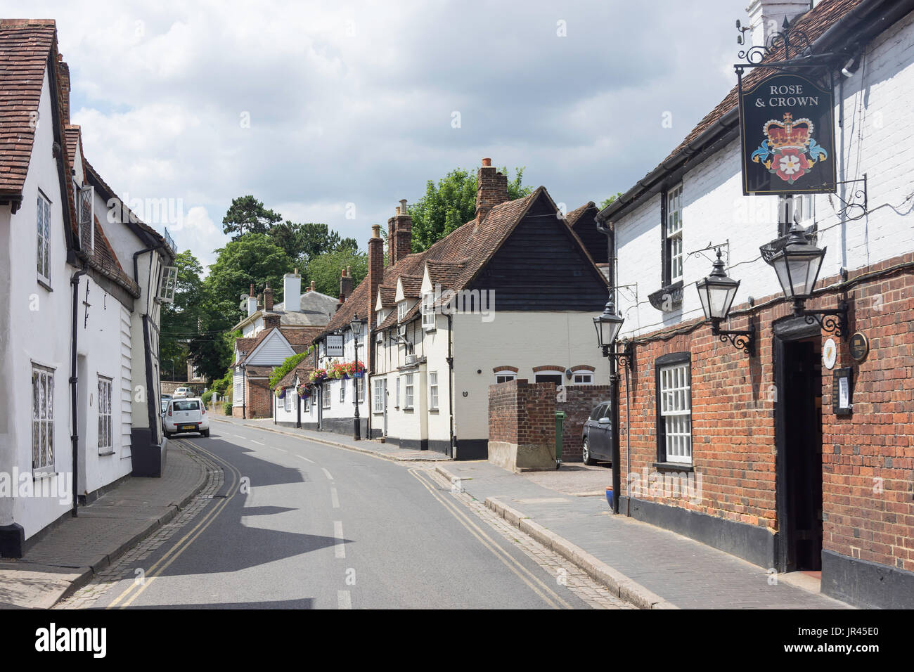 The Rose & Crown and The Six Bells pubs, St Michael's Street, St Michael's Village, St.Albans, Hertfordshire, England, United Kingdom - Stock Image