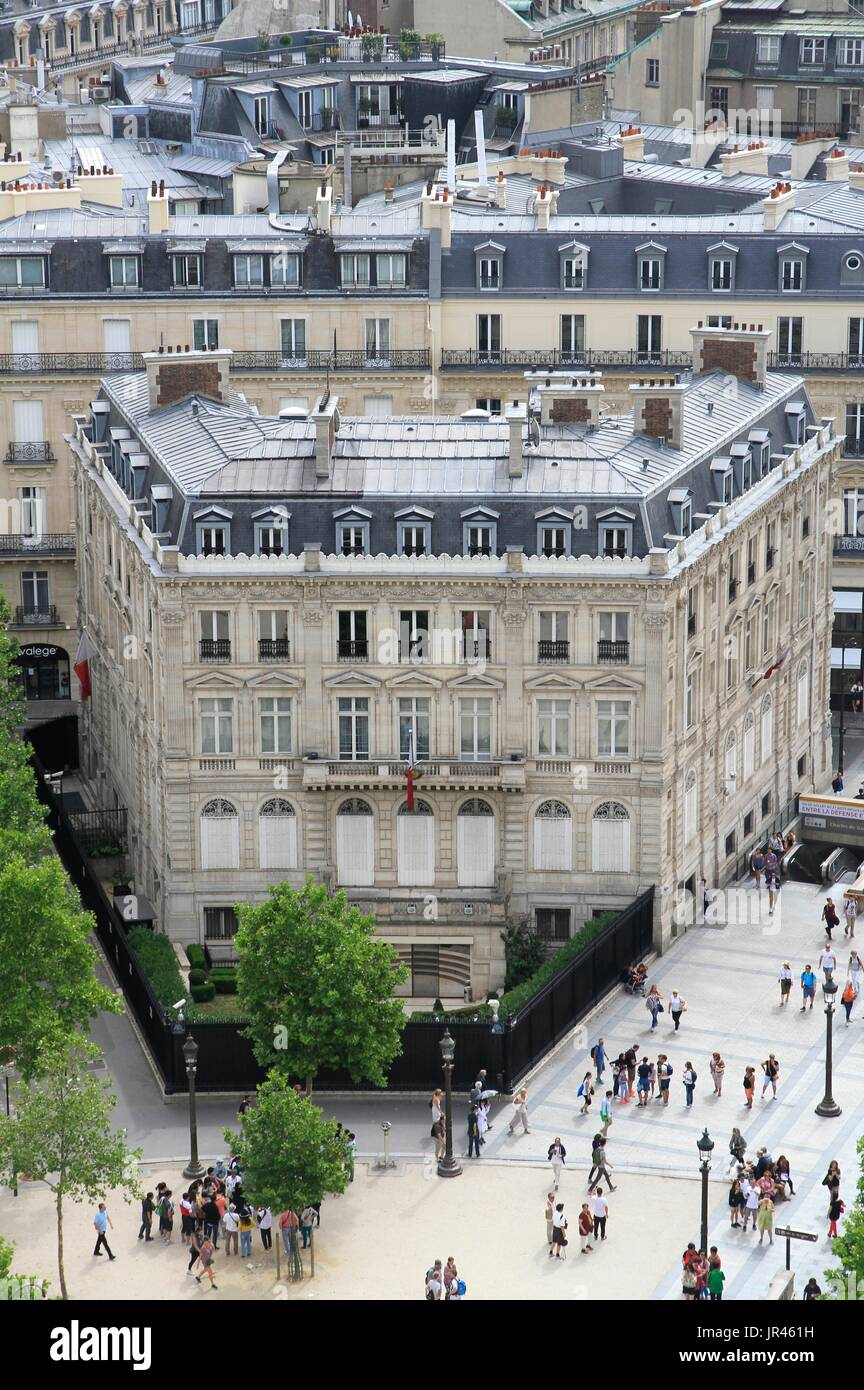 Haussmann building of the Qatari embassy, in the center of Paris, Ile-de-France, France, near Champs Elysées avenue. Stock Photo
