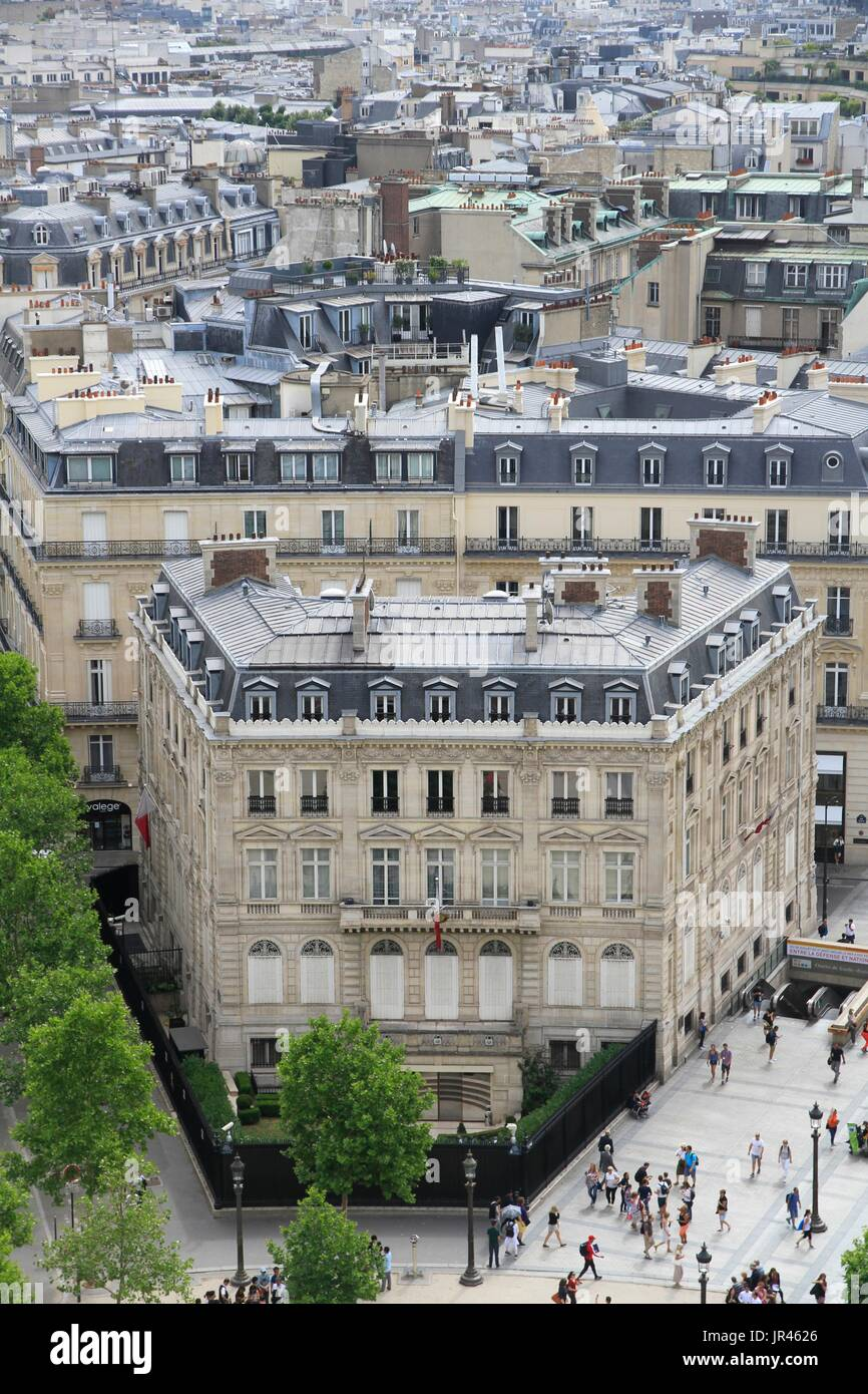 Haussmann building of the Qatari embassy, in the center of Paris, Ile-de-France, France, near Champs Elysées avenue. Stock Photo