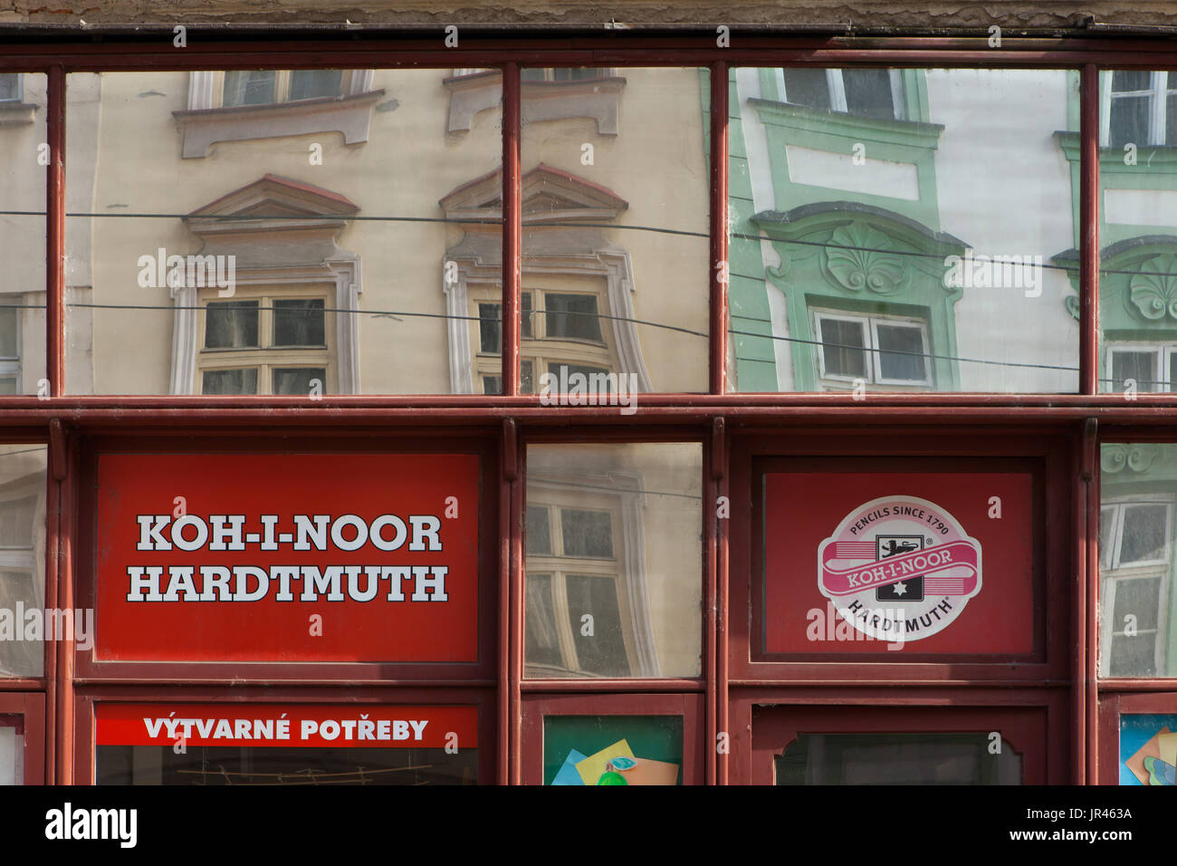 Koh-i-Noor Hardtmuth. Sign of the art supplies company store in Olomouc, Czech Republic. - Stock Image