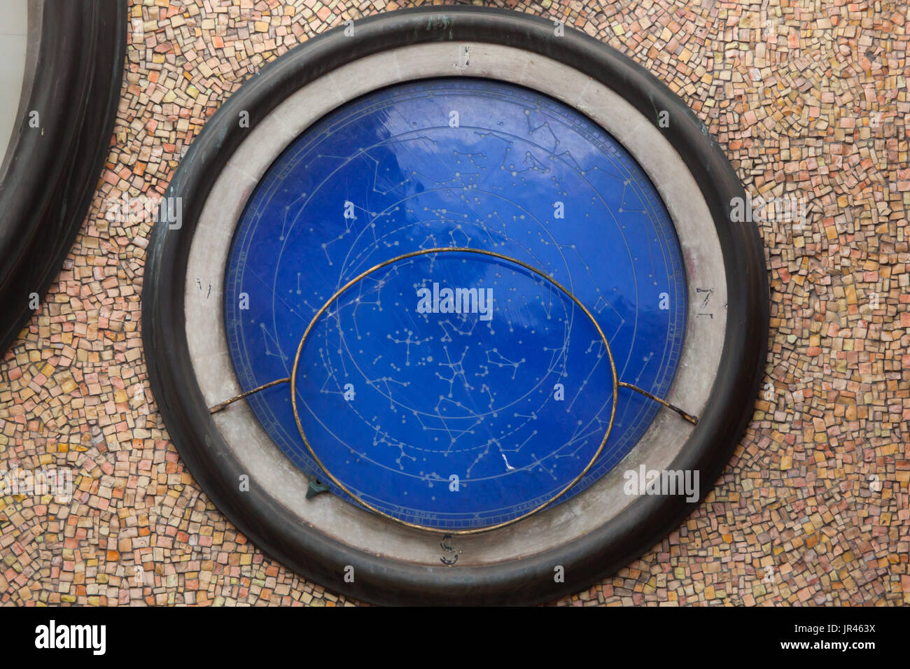 Star map depicted on the Astronomical clock in Olomouc, Czech Republic. The historical clock once placed outside the Olomouc City Hall was seriously damaged during World War II and rebuild in socialist realism style by Czech artist Karel Svolinský in the 1950s. - Stock Image