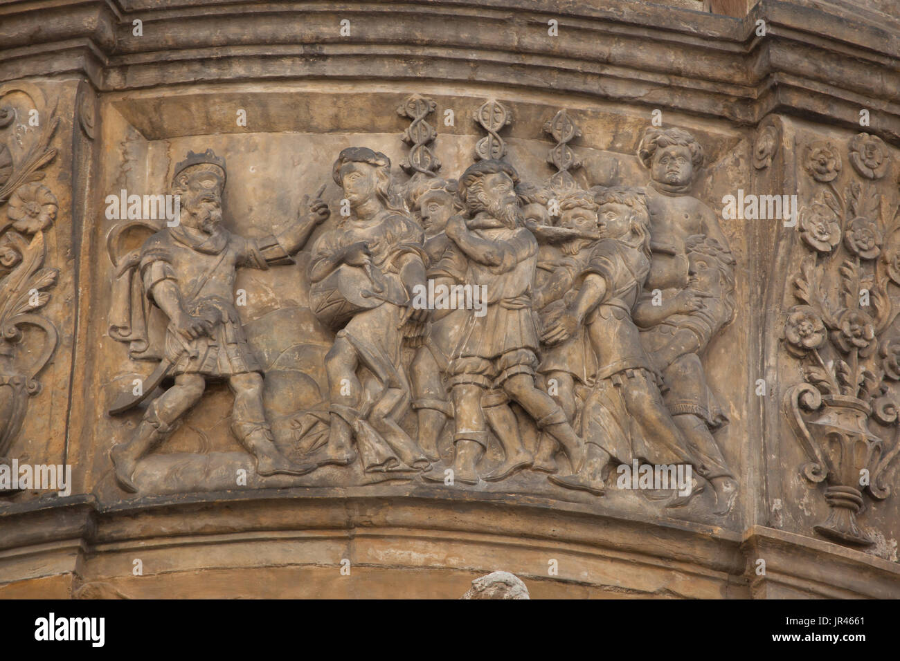 King Pentheus and Bacchus. Scene from the Metamorphoses by Roman poet Ovid depicted in the Renaissance relief on Stock Photo