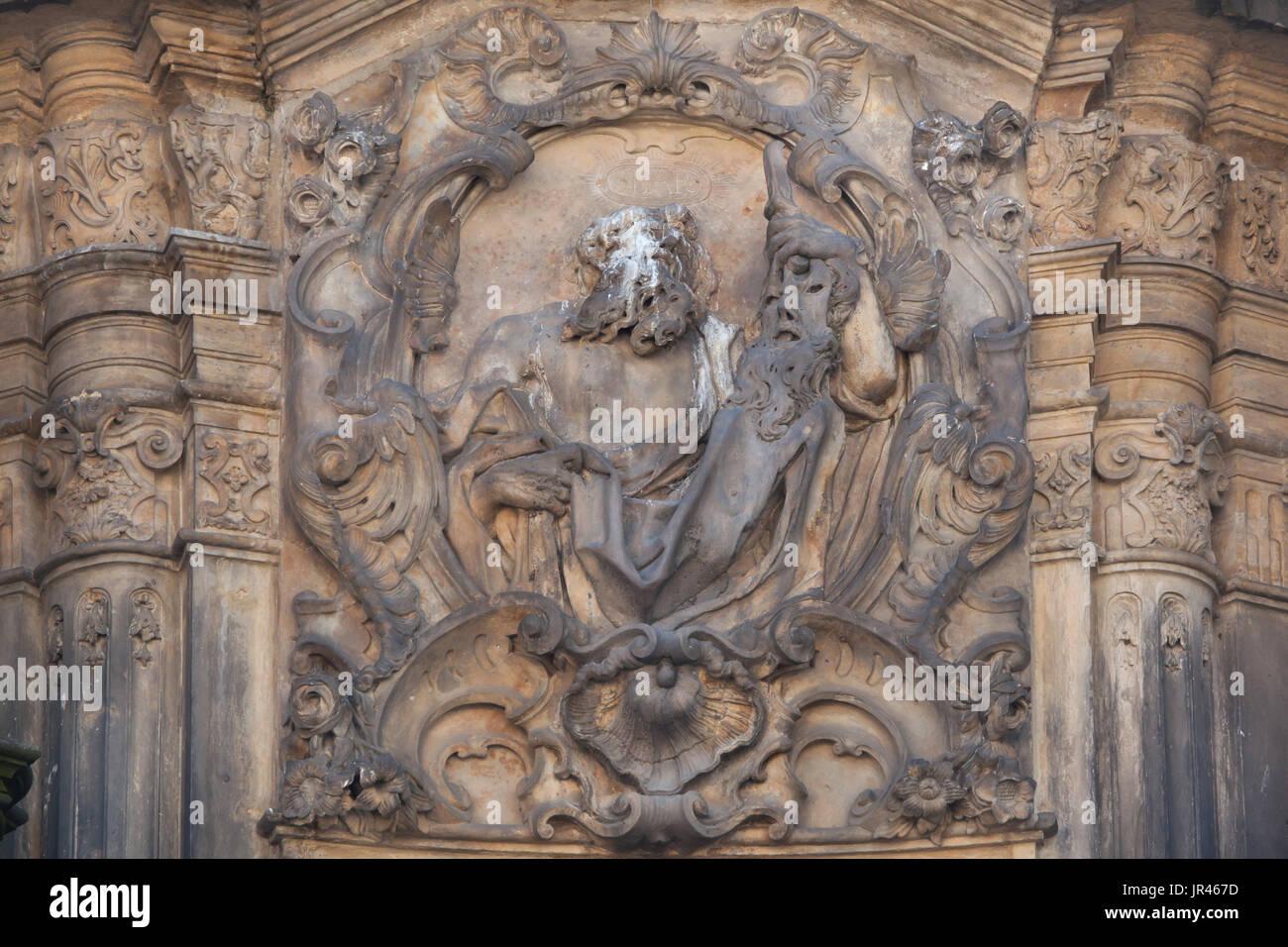 Saint Bartholomew the Apostle depicted on the Holy Trinity Column (Sloup Nejsvětější Trojice) in Olomouc, Czech Republic. - Stock Image
