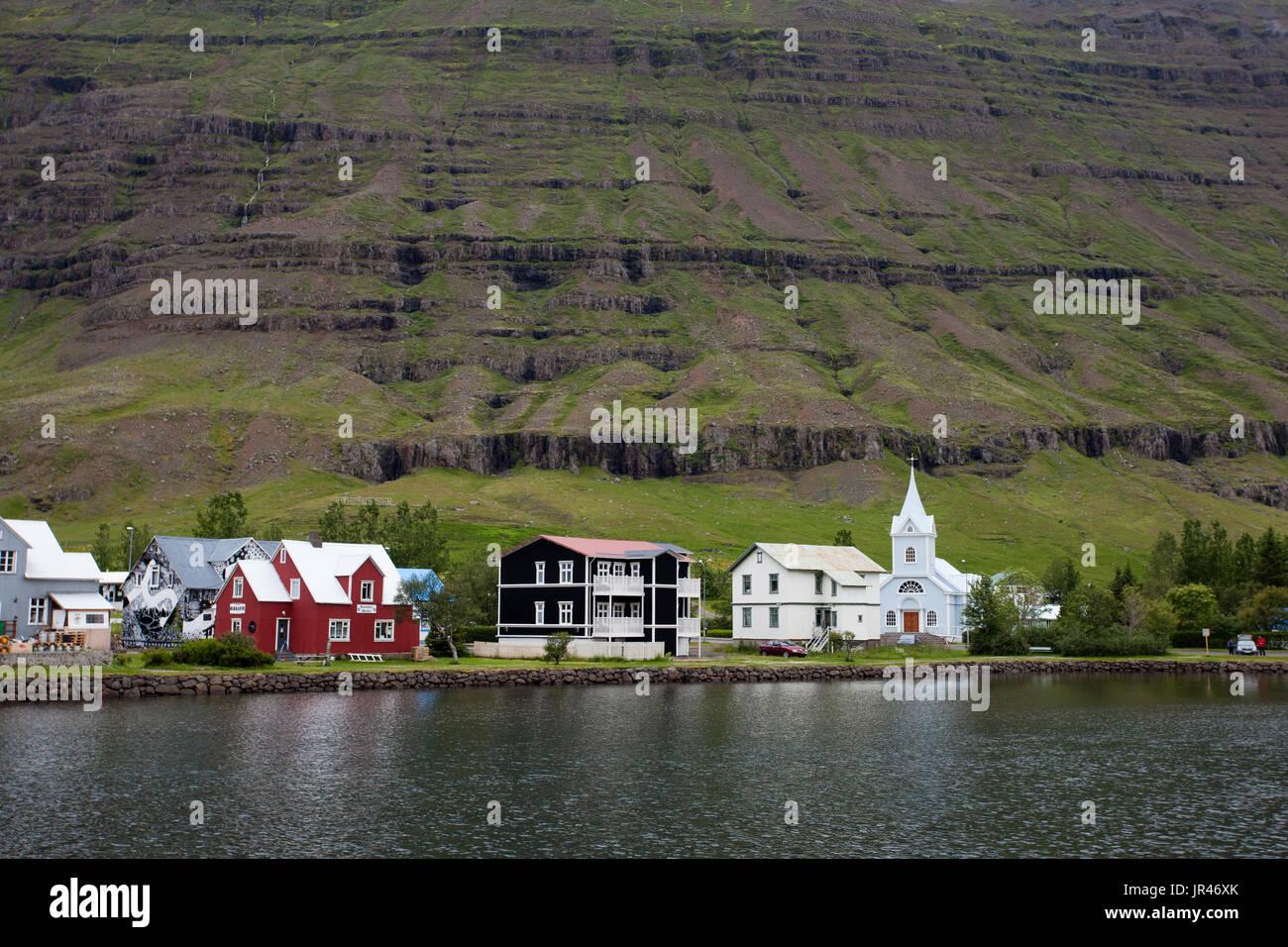 Seyðisfjörður or Seydisfjordur - Stock Image