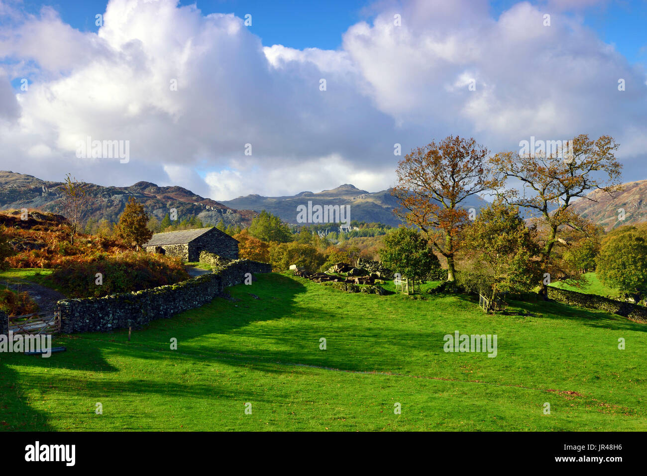 An autumn view of the Cumbrian Fells near Ambleside, England - Stock Image