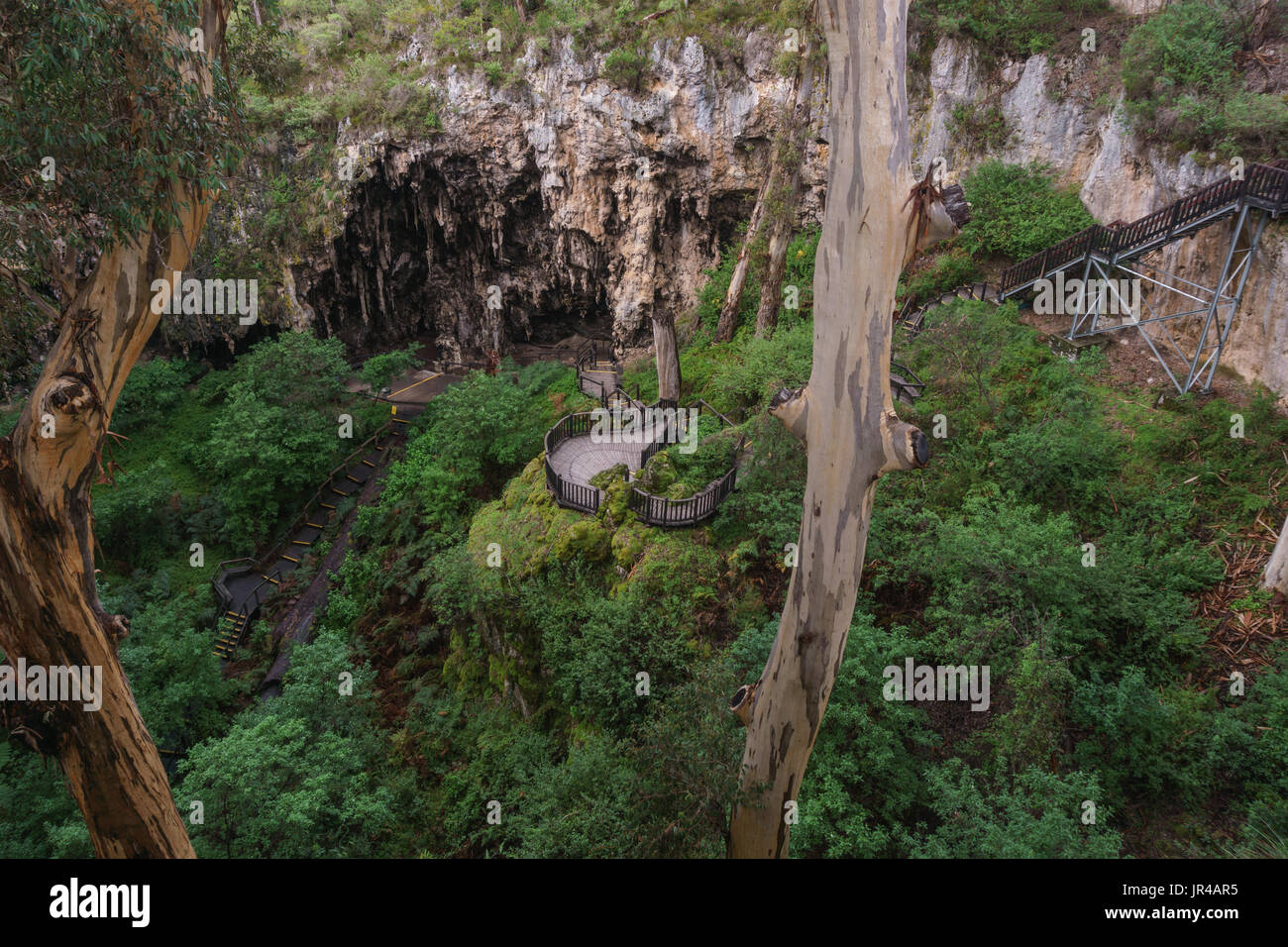 Abyss at the entrance of Lake cave, Margaret river region, South-western Australia Stock Photo