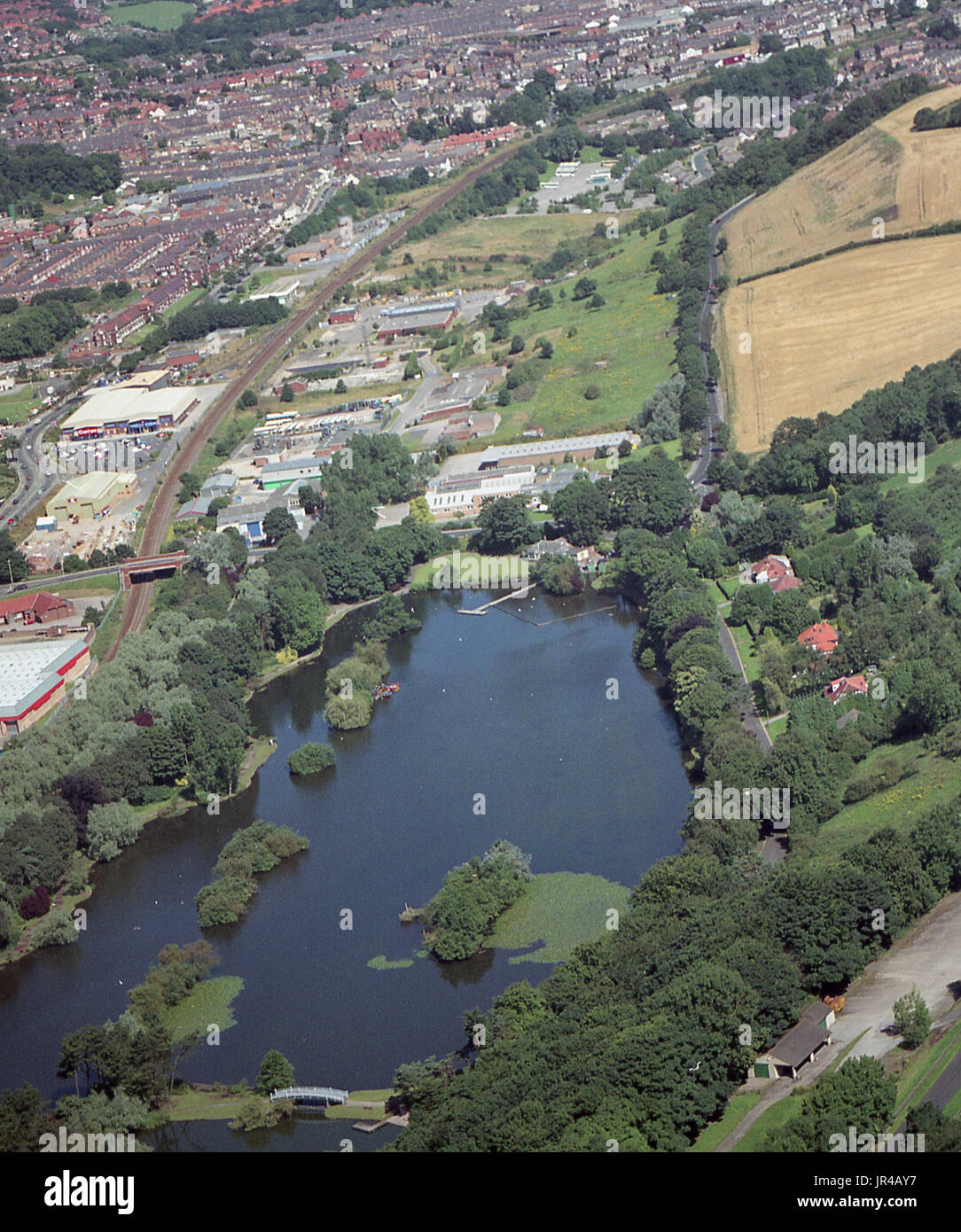 Aerial photo of the Mere on the A64 into Scarborough off Seamer Road - Stock Image